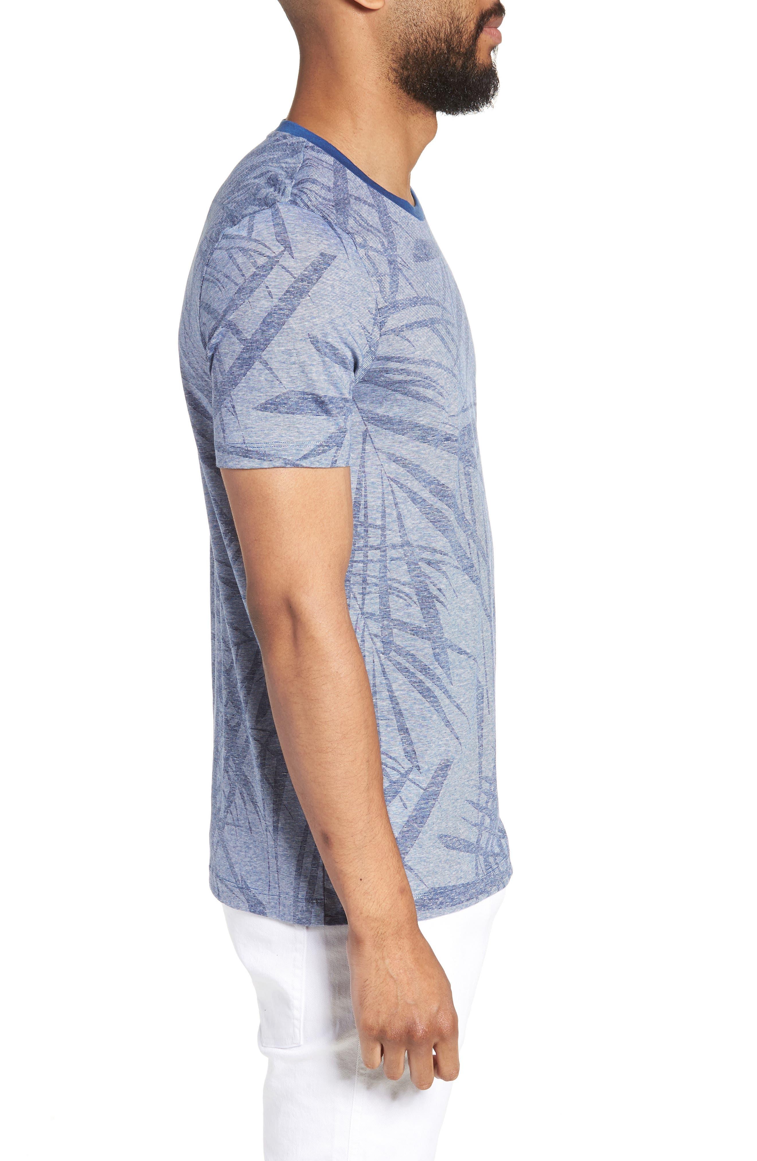 Tessler Slim Fit Palm Print T-Shirt,                             Alternate thumbnail 3, color,                             429