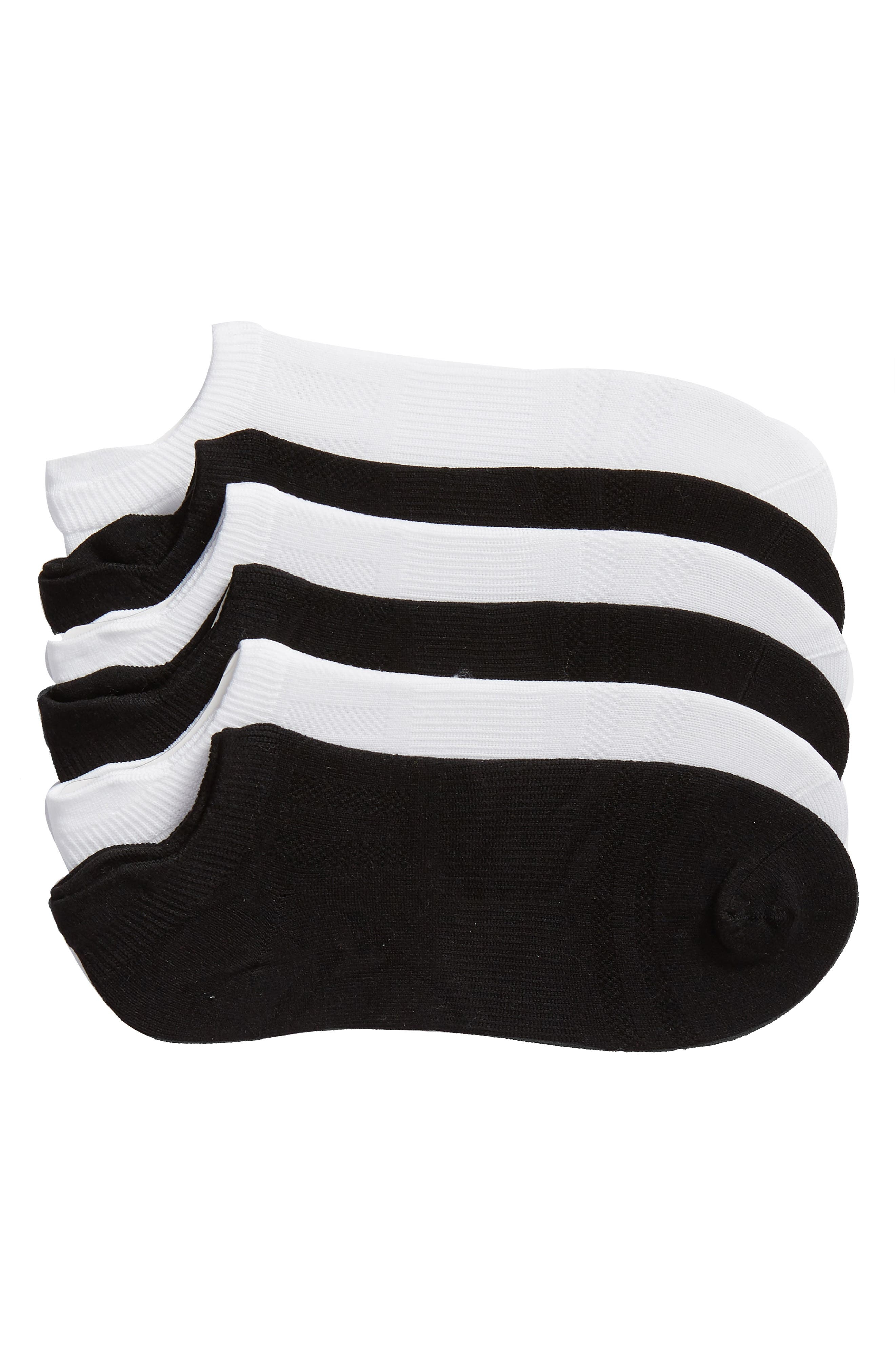 SOF SOLE 6-Pack Low Cut Socks, Main, color, WHITE/ BLACK