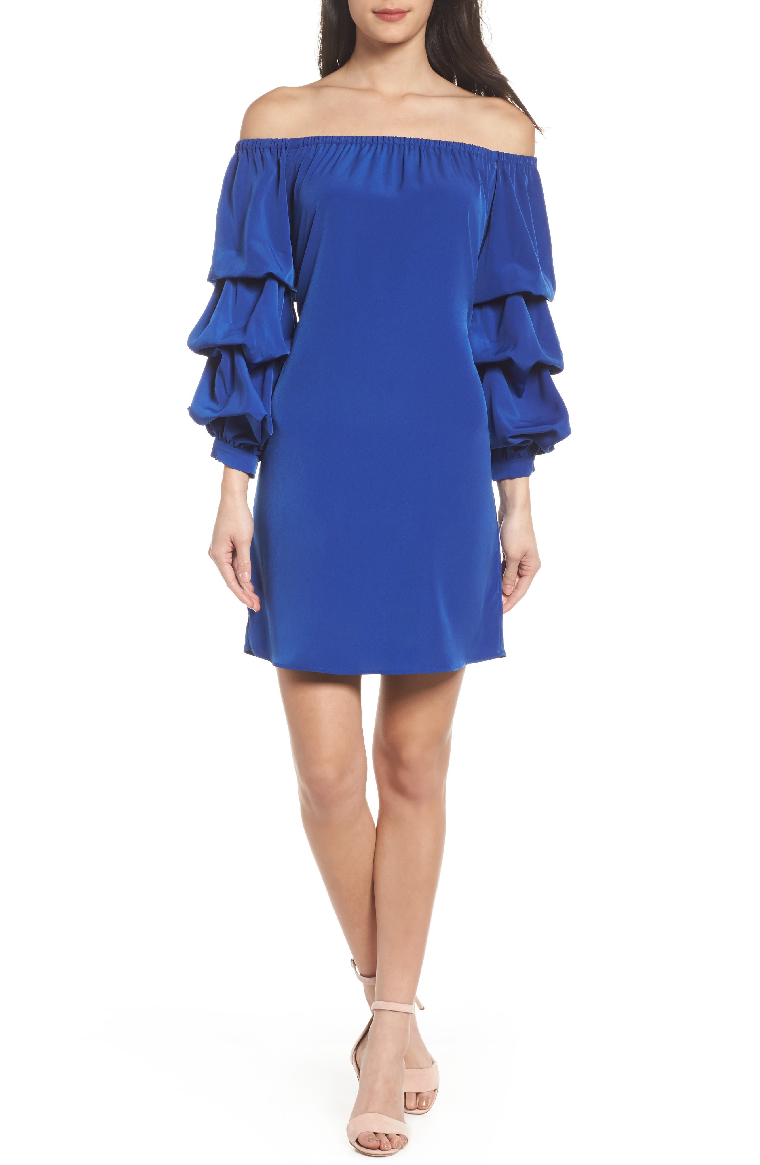 Off the Shoulder Tiered Sleeve Dress,                             Alternate thumbnail 14, color,