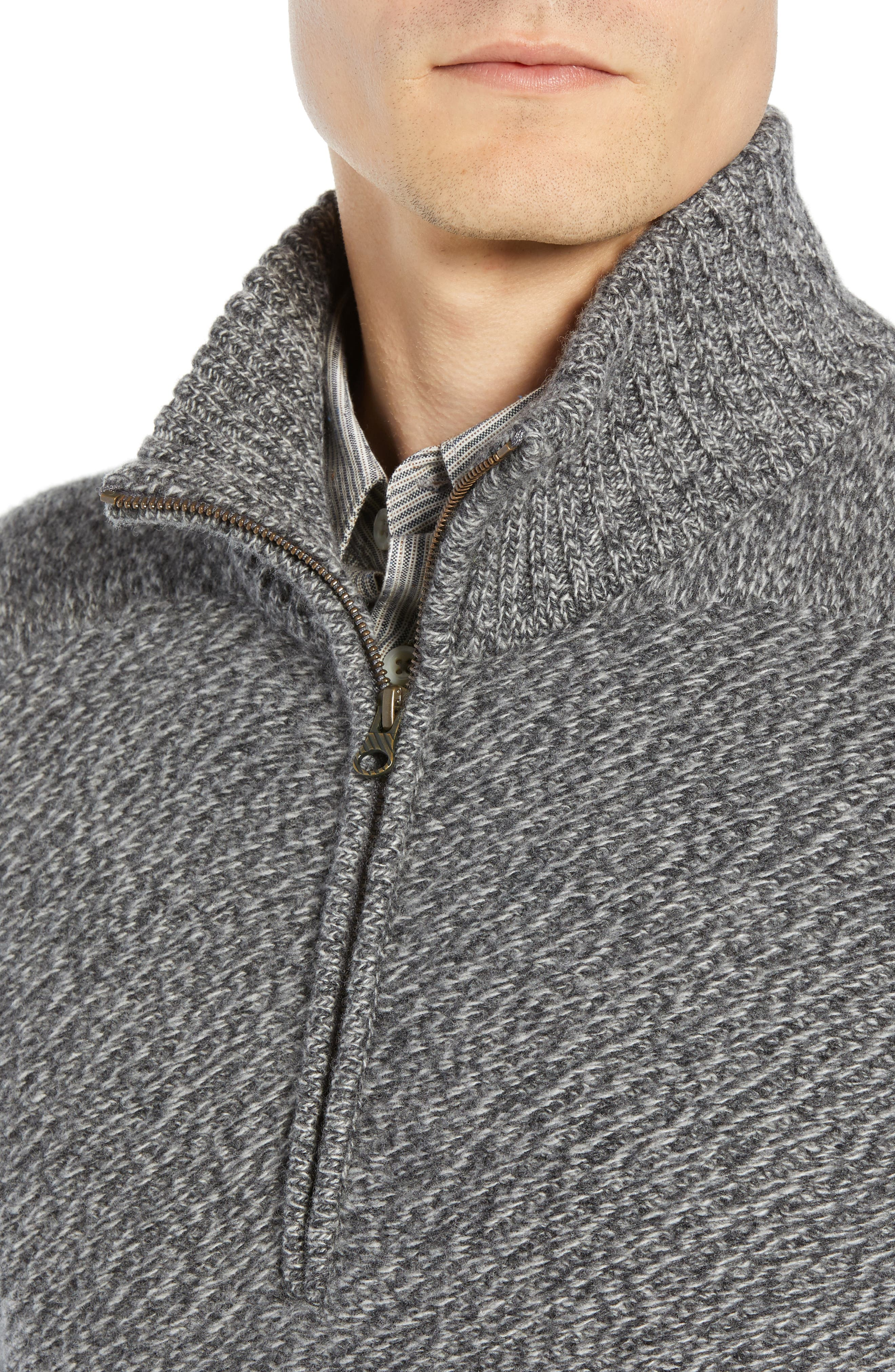 Cashmere Half Zip Sweater,                             Alternate thumbnail 4, color,                             CHARCOAL