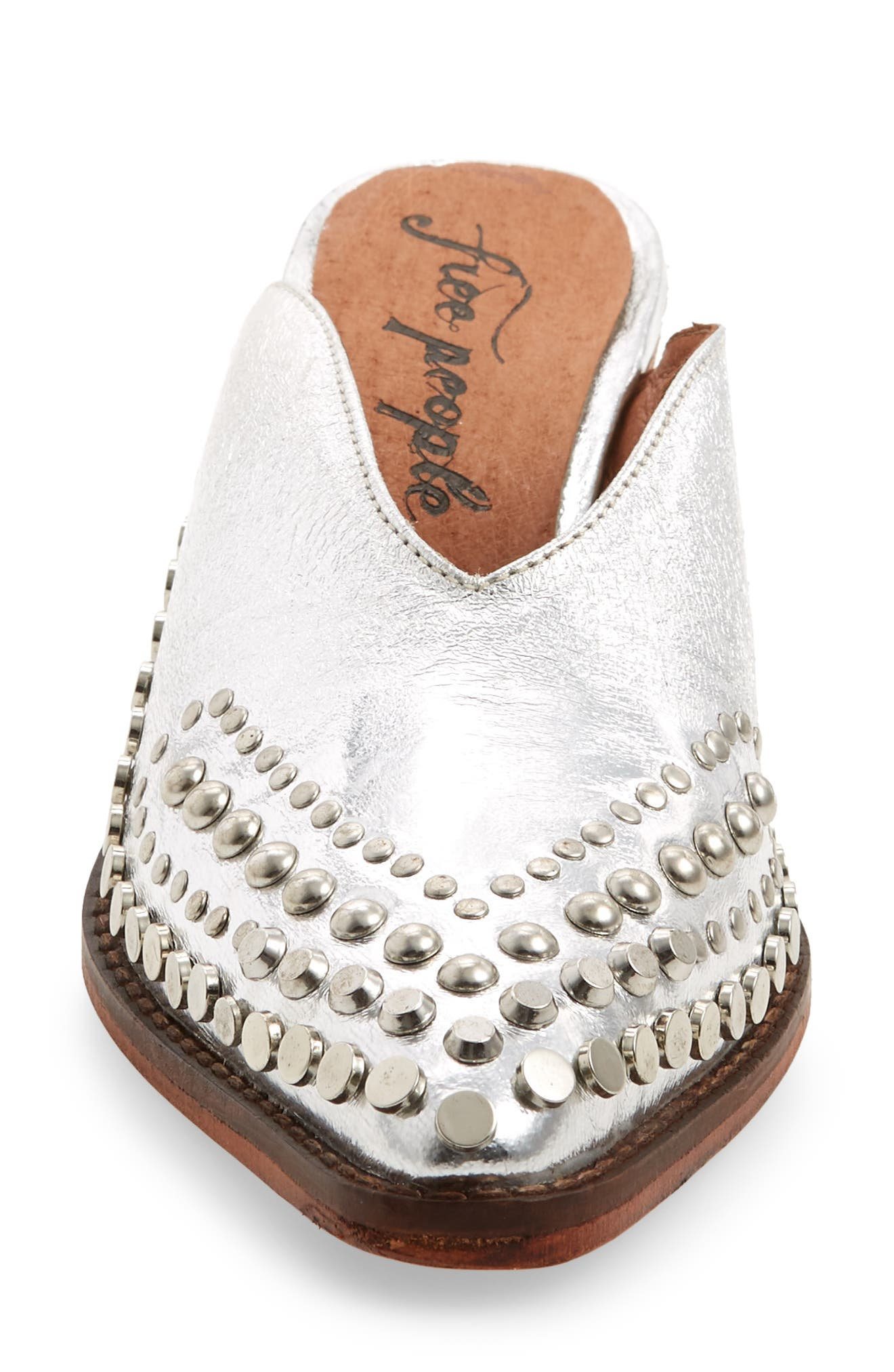 Anya Studded Mule,                             Alternate thumbnail 4, color,                             SILVER LEATHER