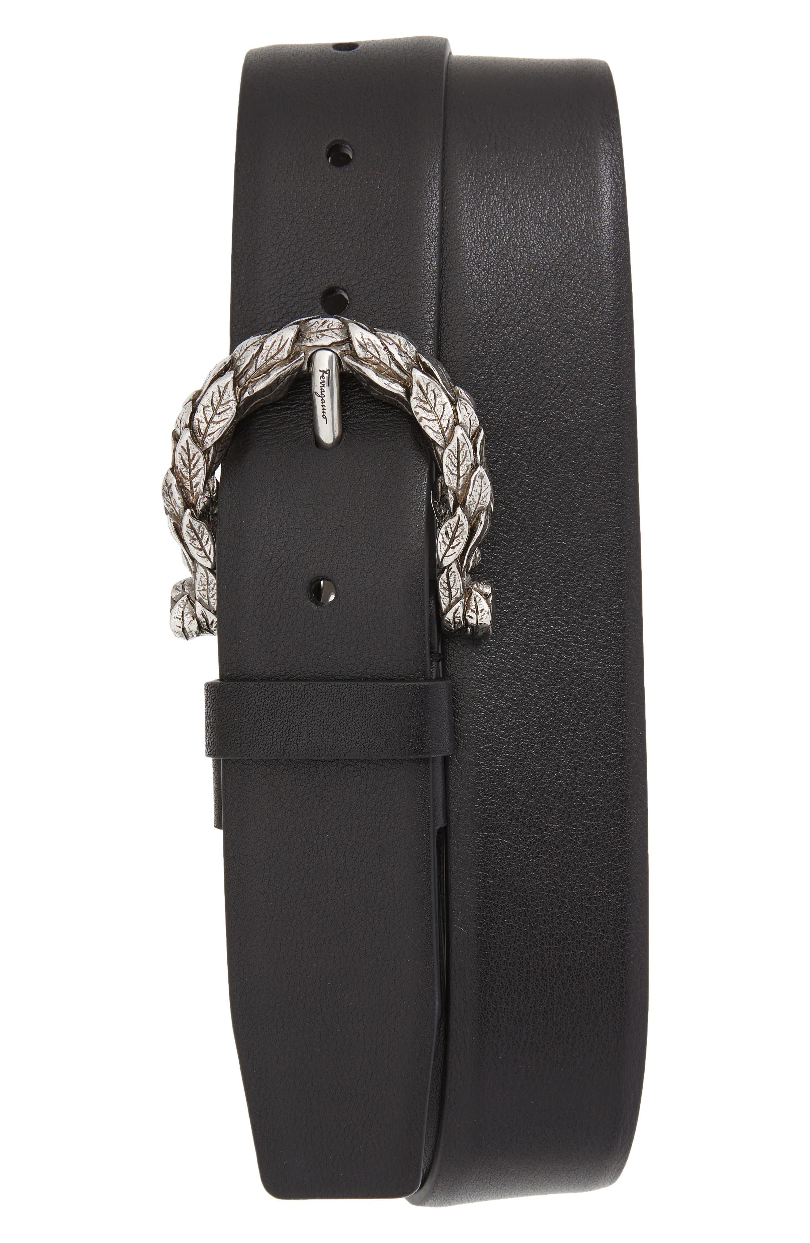 Gancio Leaf Buckle Leather Belt,                         Main,                         color, 001