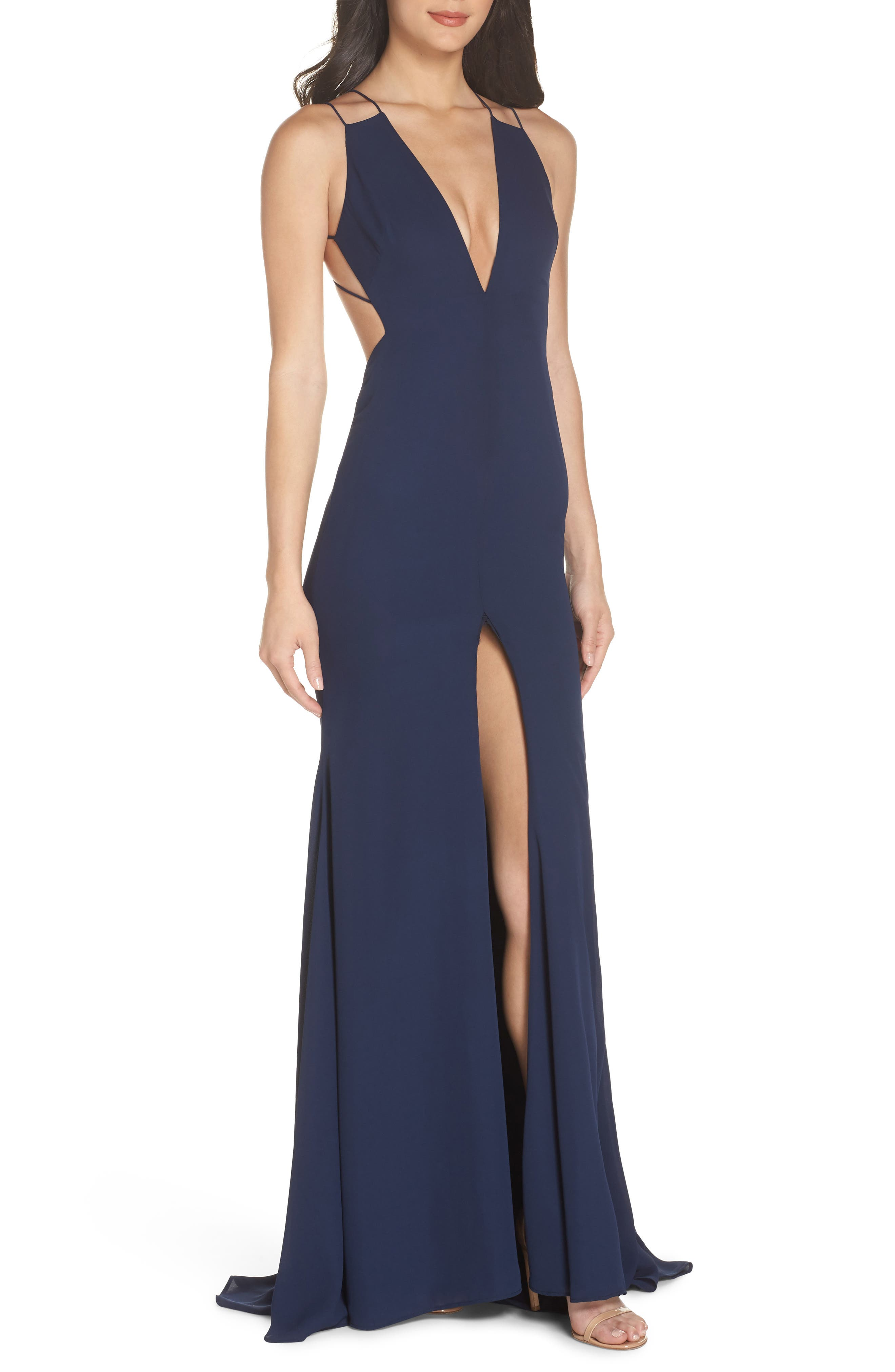 Fame & Partners Surreal Dreamer Cutout Gown,                         Main,                         color, NAVY