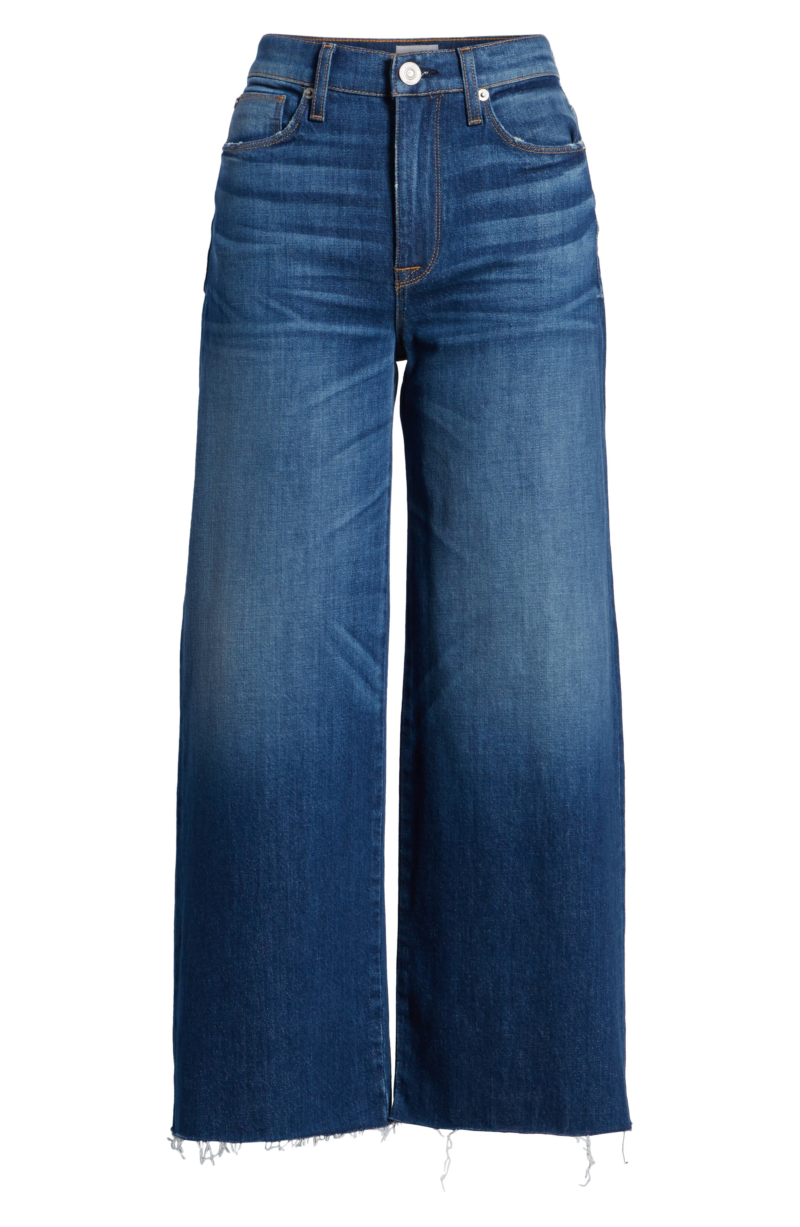 Holly High Waist Raw Hem Crop Wide Leg Jeans,                             Alternate thumbnail 7, color,                             OWN IT