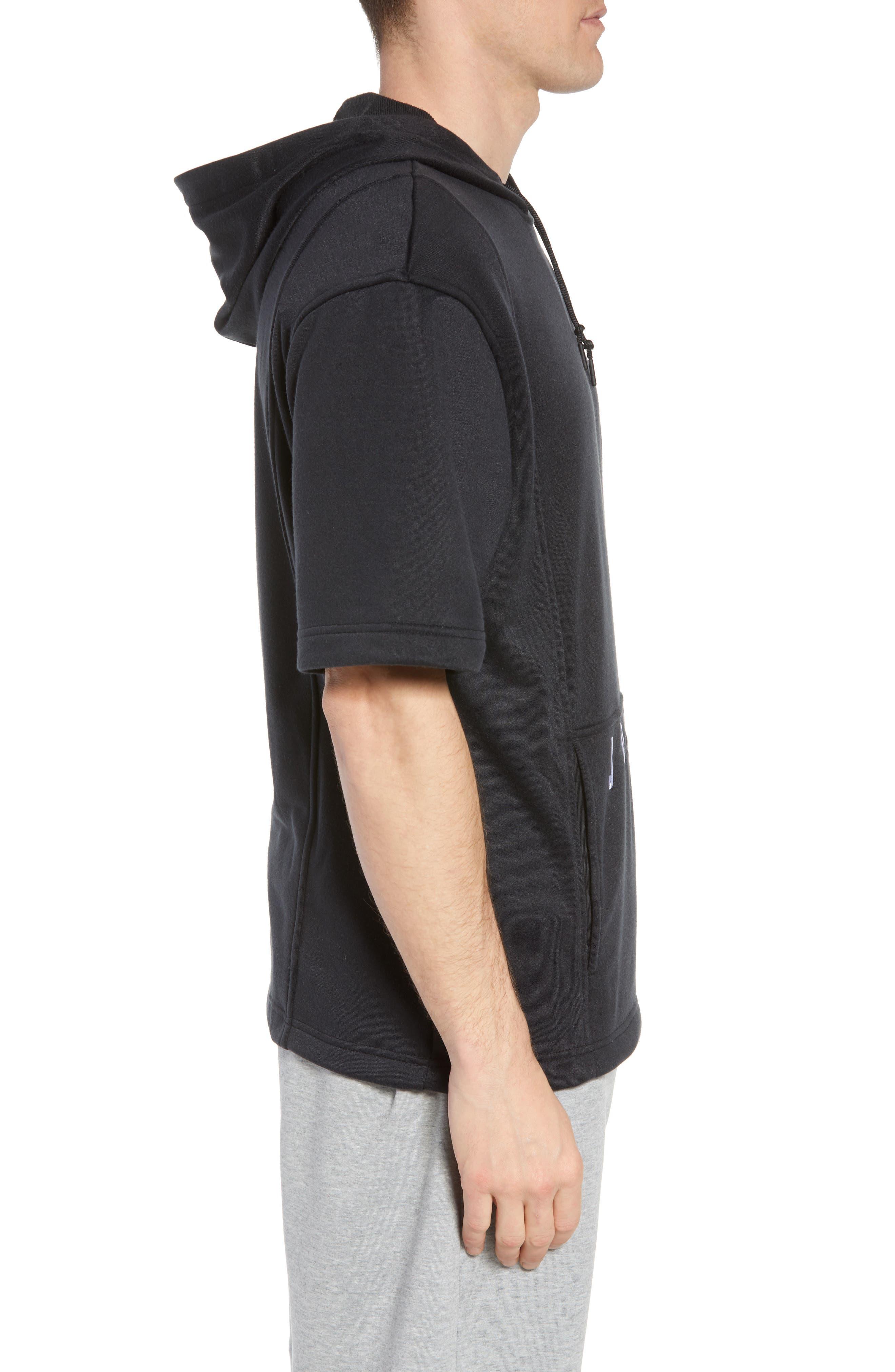 Nike Air Jordon Short Sleeve Basketball Hoodie,                             Alternate thumbnail 3, color,                             BLACK/ WHITE