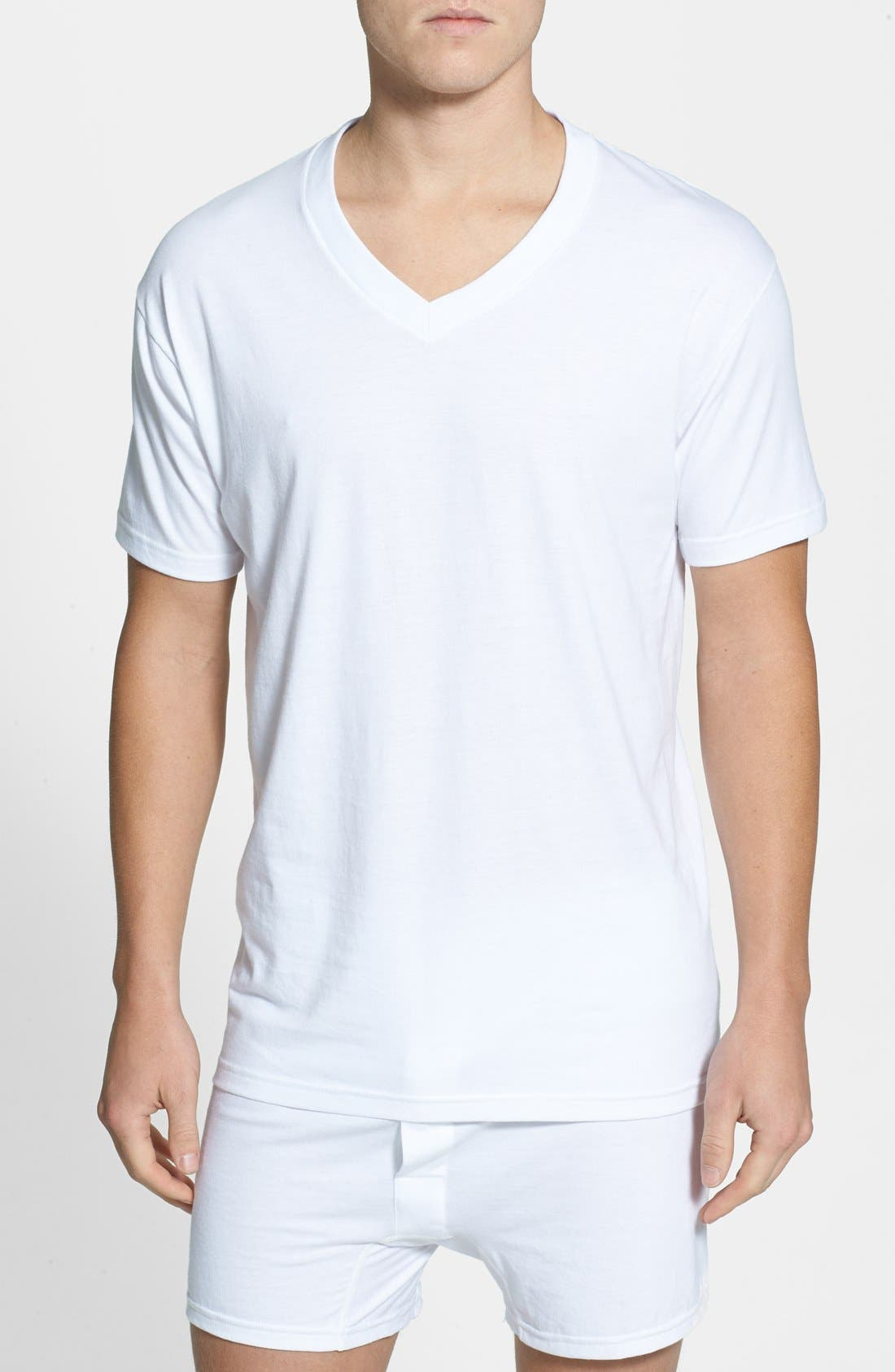 4-Pack Regular Fit Supima<sup>®</sup> Cotton V-Neck T-Shirts,                         Main,                         color, WHITE