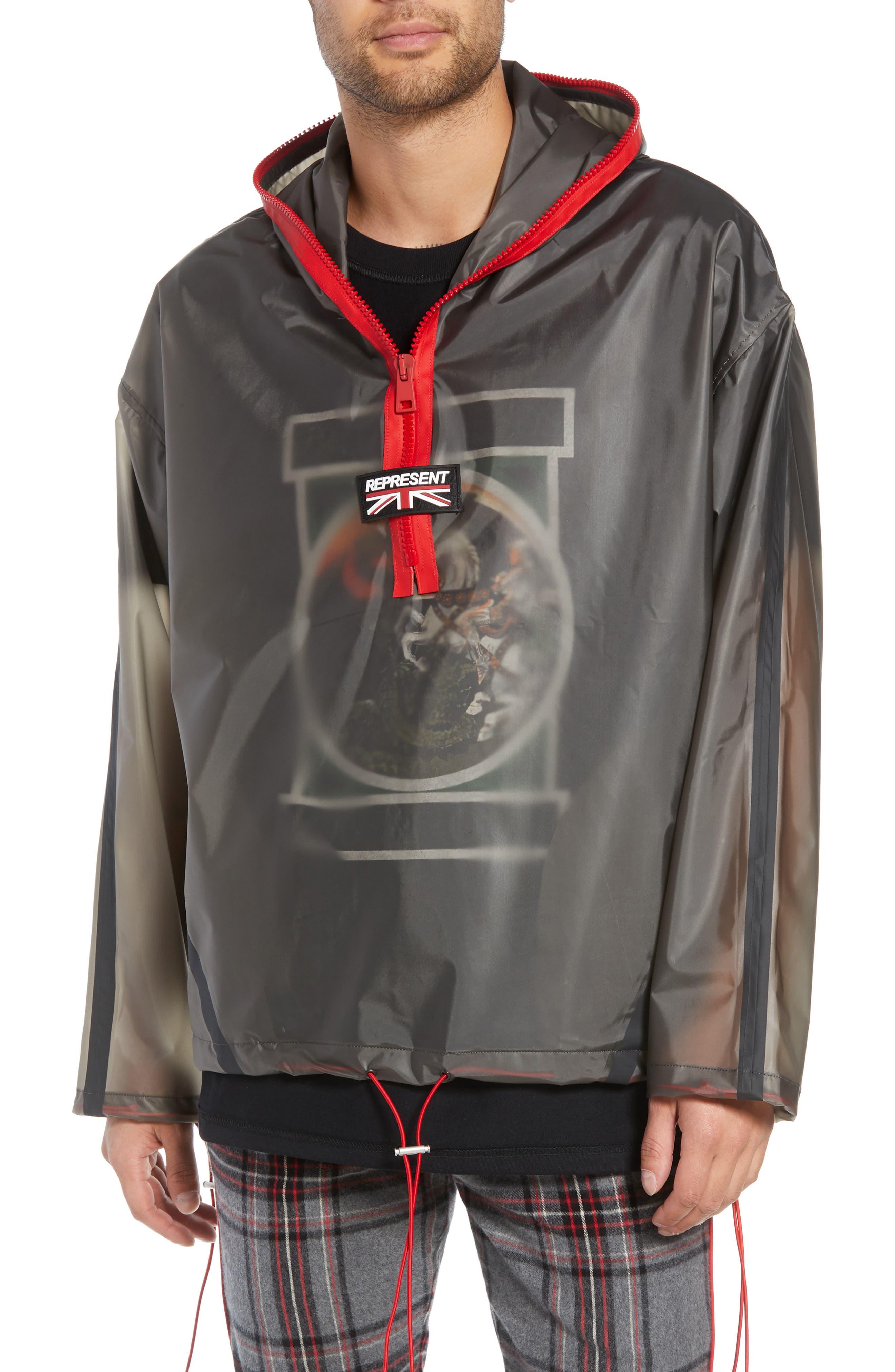 Rubber Half Zip Rain Jacket,                         Main,                         color, BLACK