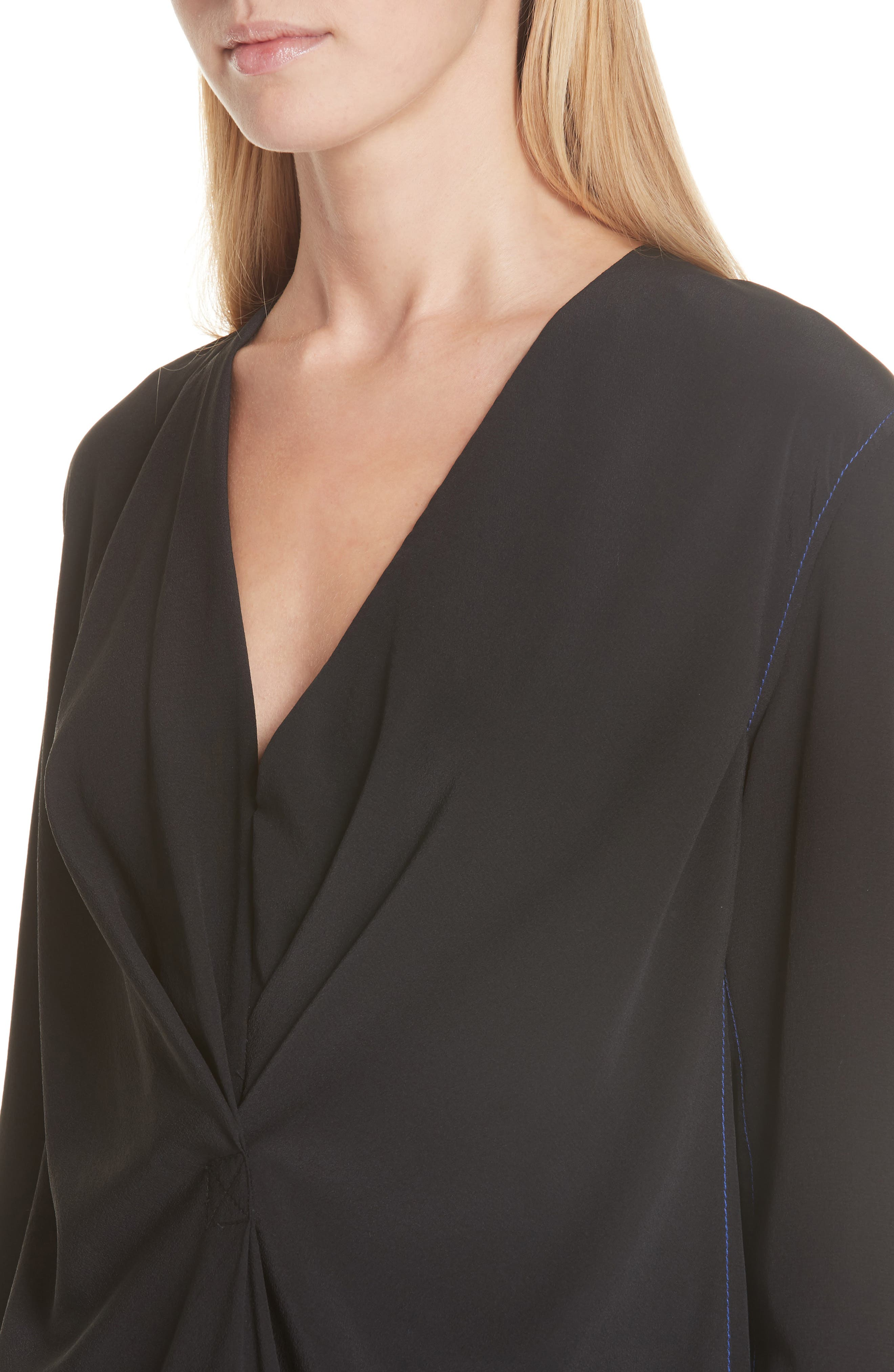 Shields Silk Blouse,                             Alternate thumbnail 4, color,                             BLACK