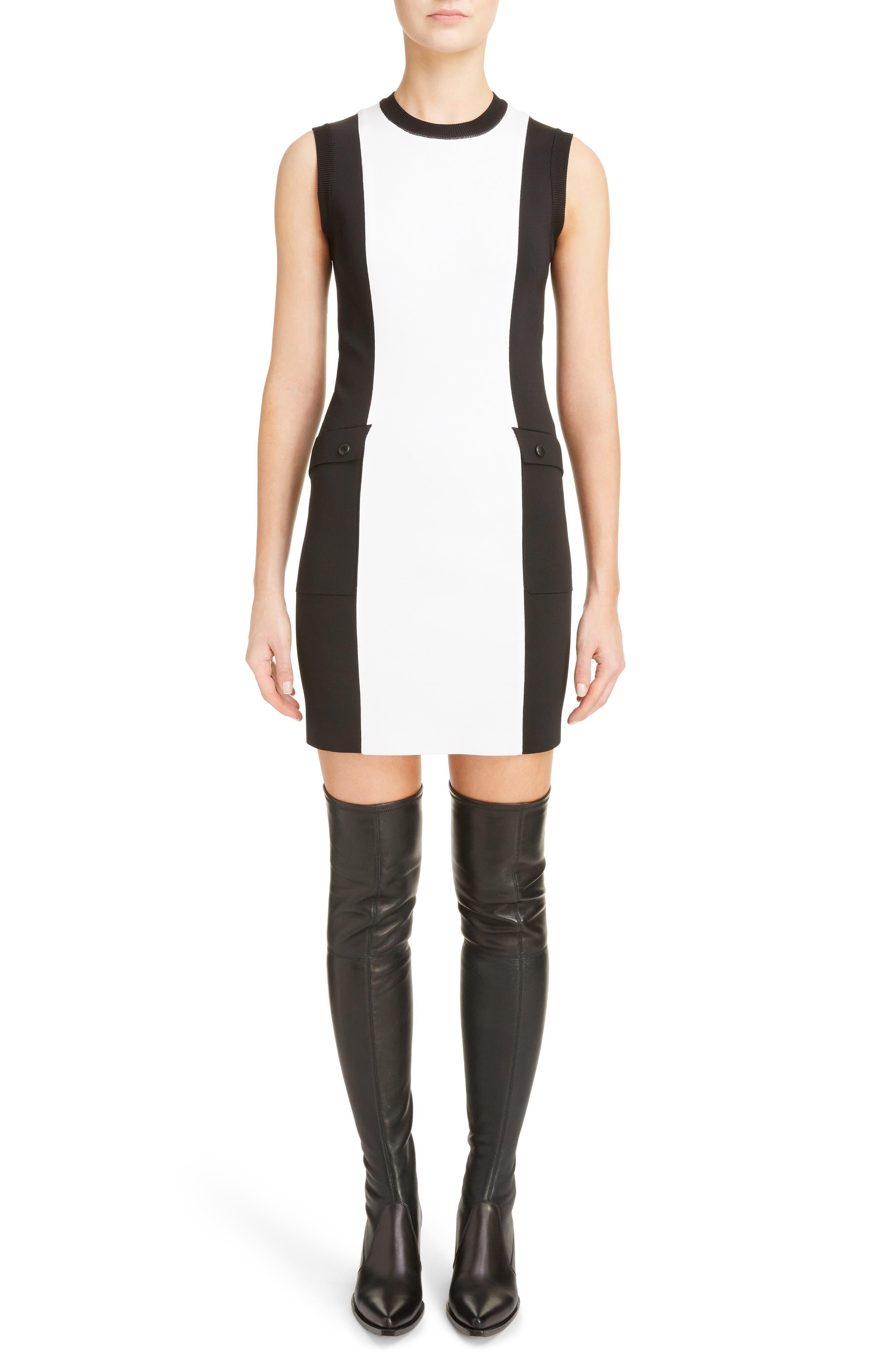 Two-Tone Punto Milano Dress,                         Main,                         color, BLACK/ WHITE