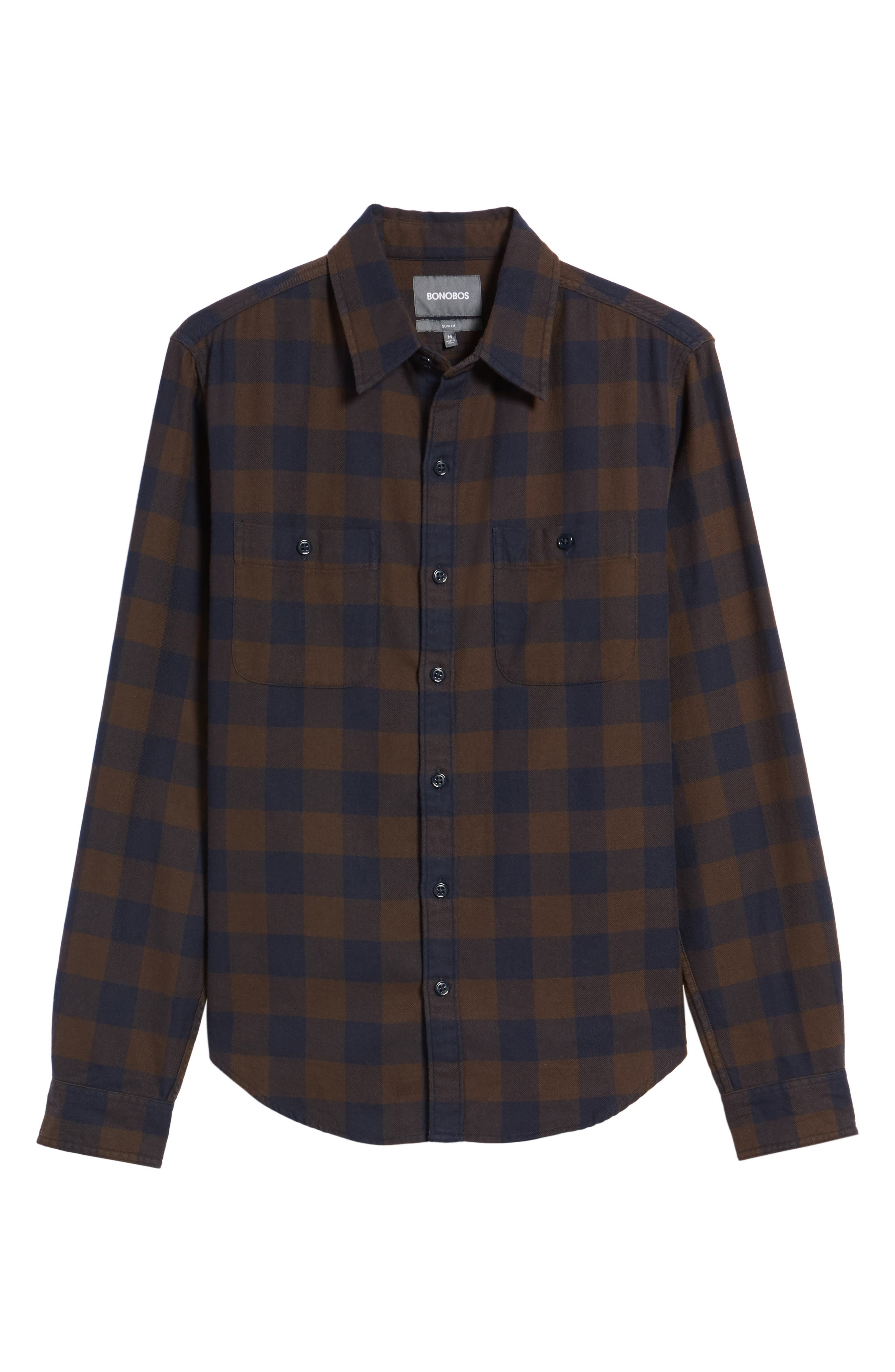 Slim Fit Check Flannel Shirt,                             Alternate thumbnail 6, color,                             400