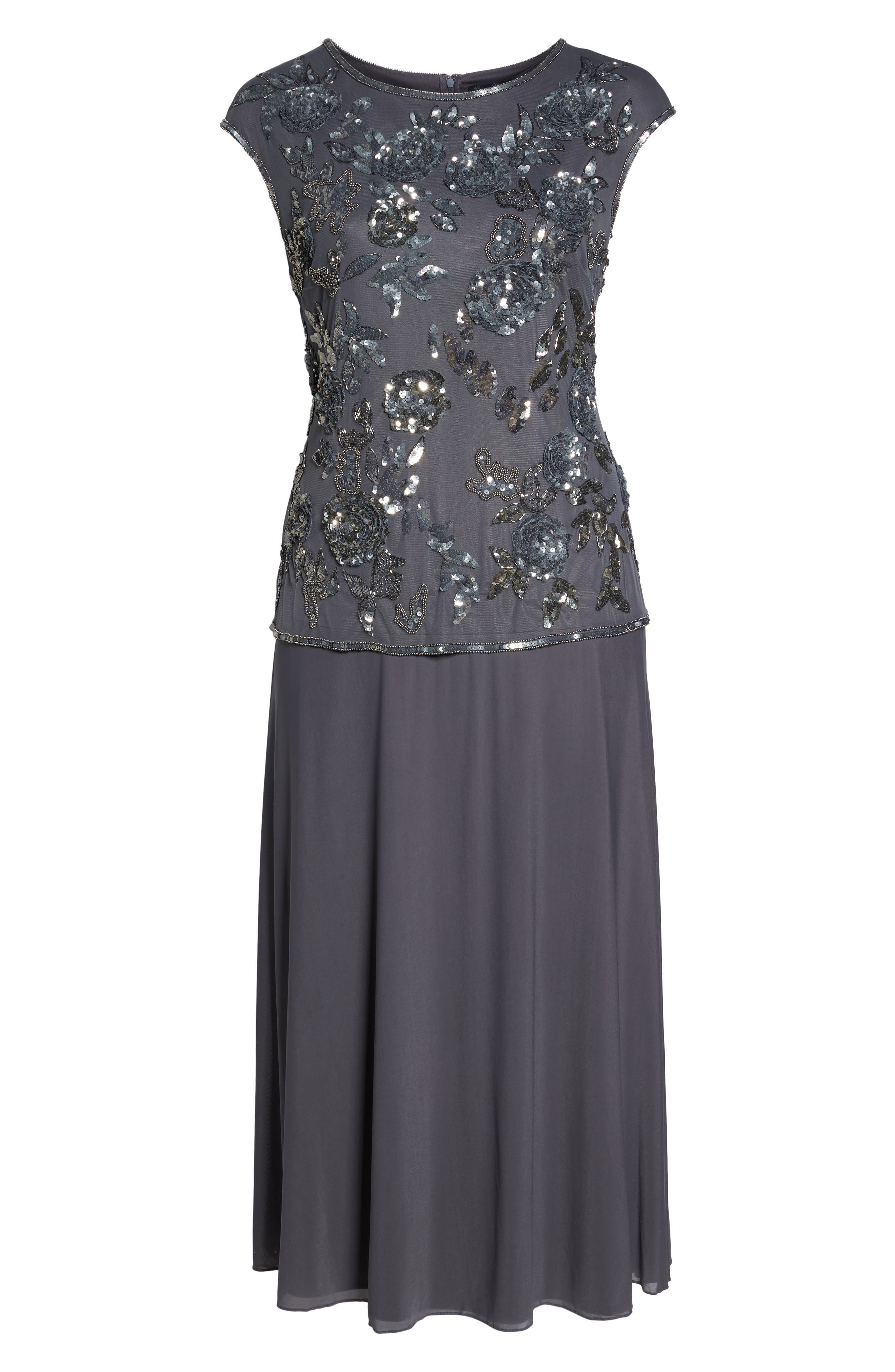 Embellished Mock Two-Piece Gown,                             Alternate thumbnail 6, color,