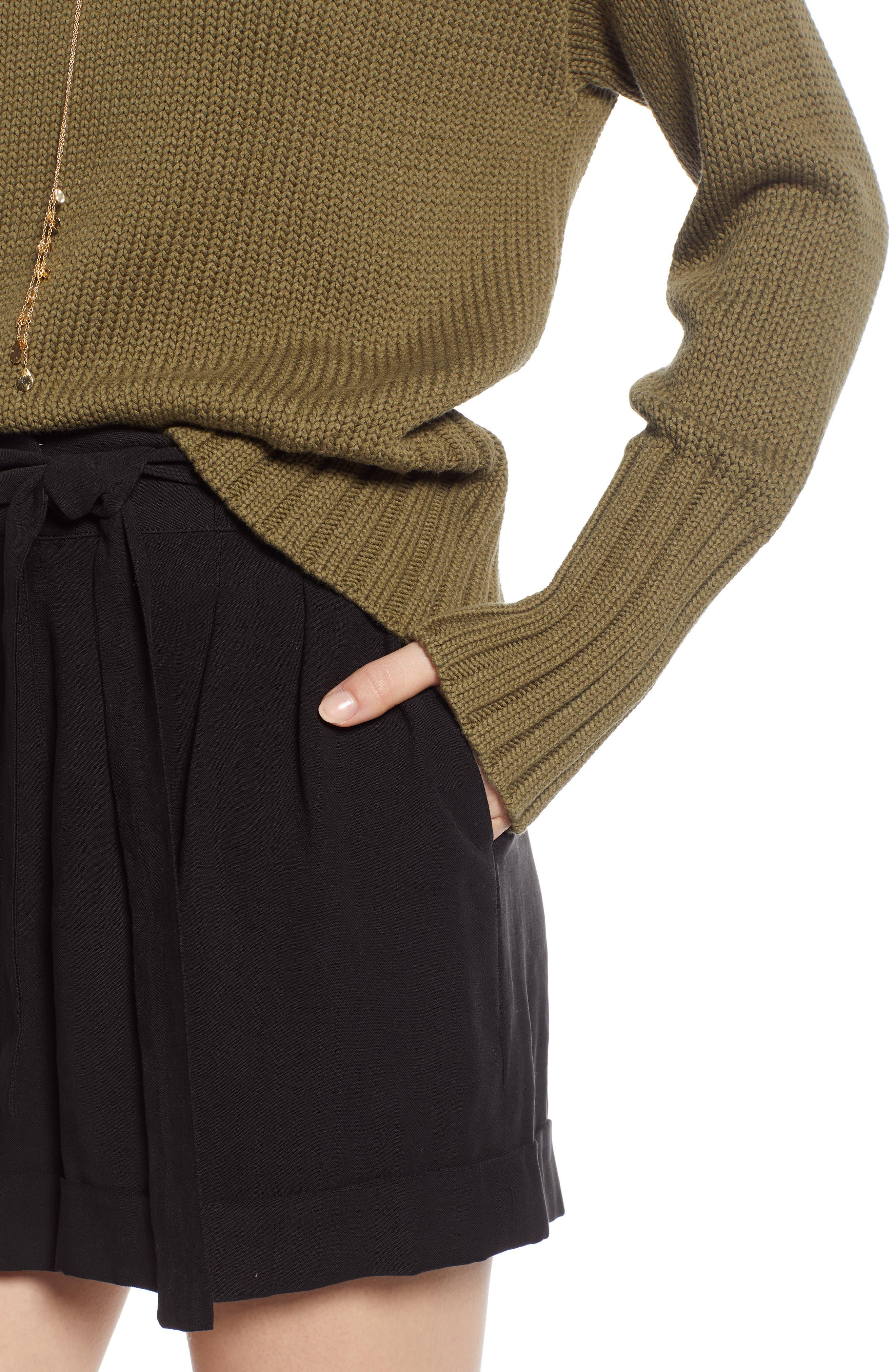 V-Neck Sweater,                             Alternate thumbnail 4, color,                             OLIVE BURNT