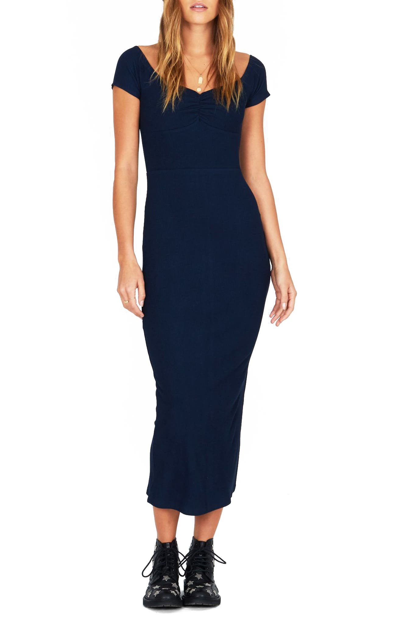 Wide Awake Midi Dress,                         Main,                         color, DARK NAVY
