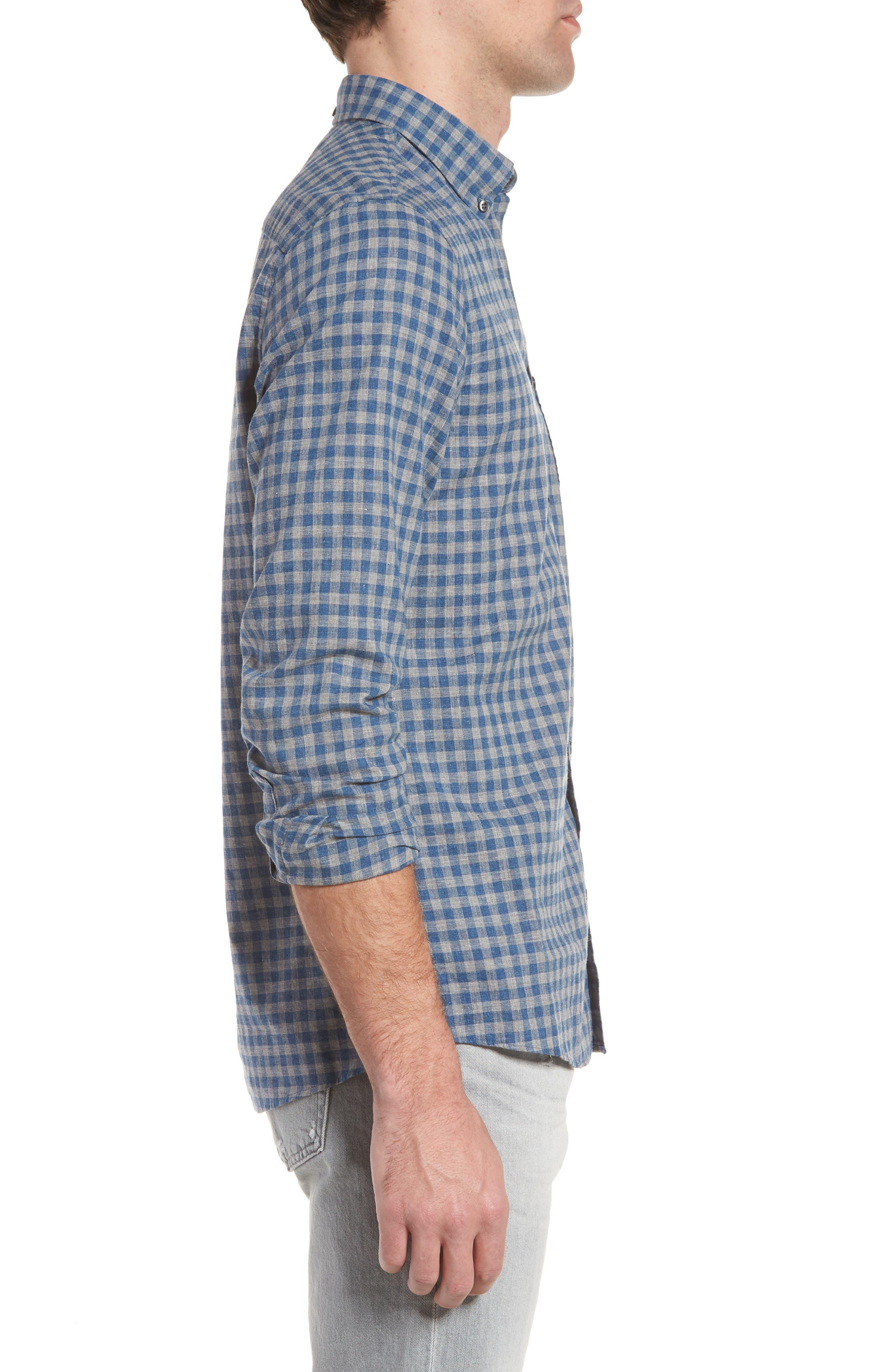 Trim Fit Heather Gingham Linen Blend Sport Shirt,                             Alternate thumbnail 3, color,                             030