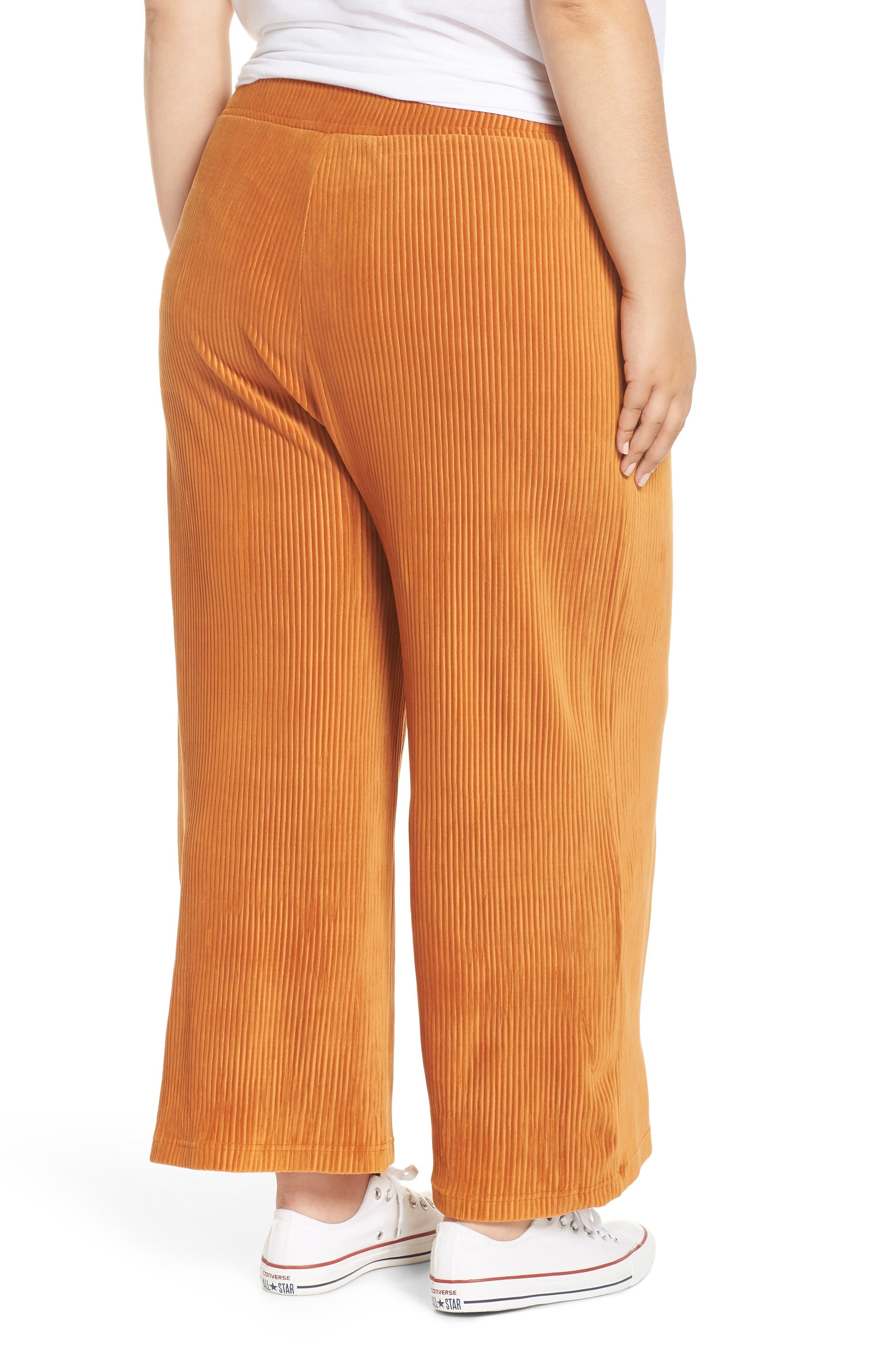 High Rise Knit Corduroy Crop Pants,                             Alternate thumbnail 9, color,                             RUST CIDER