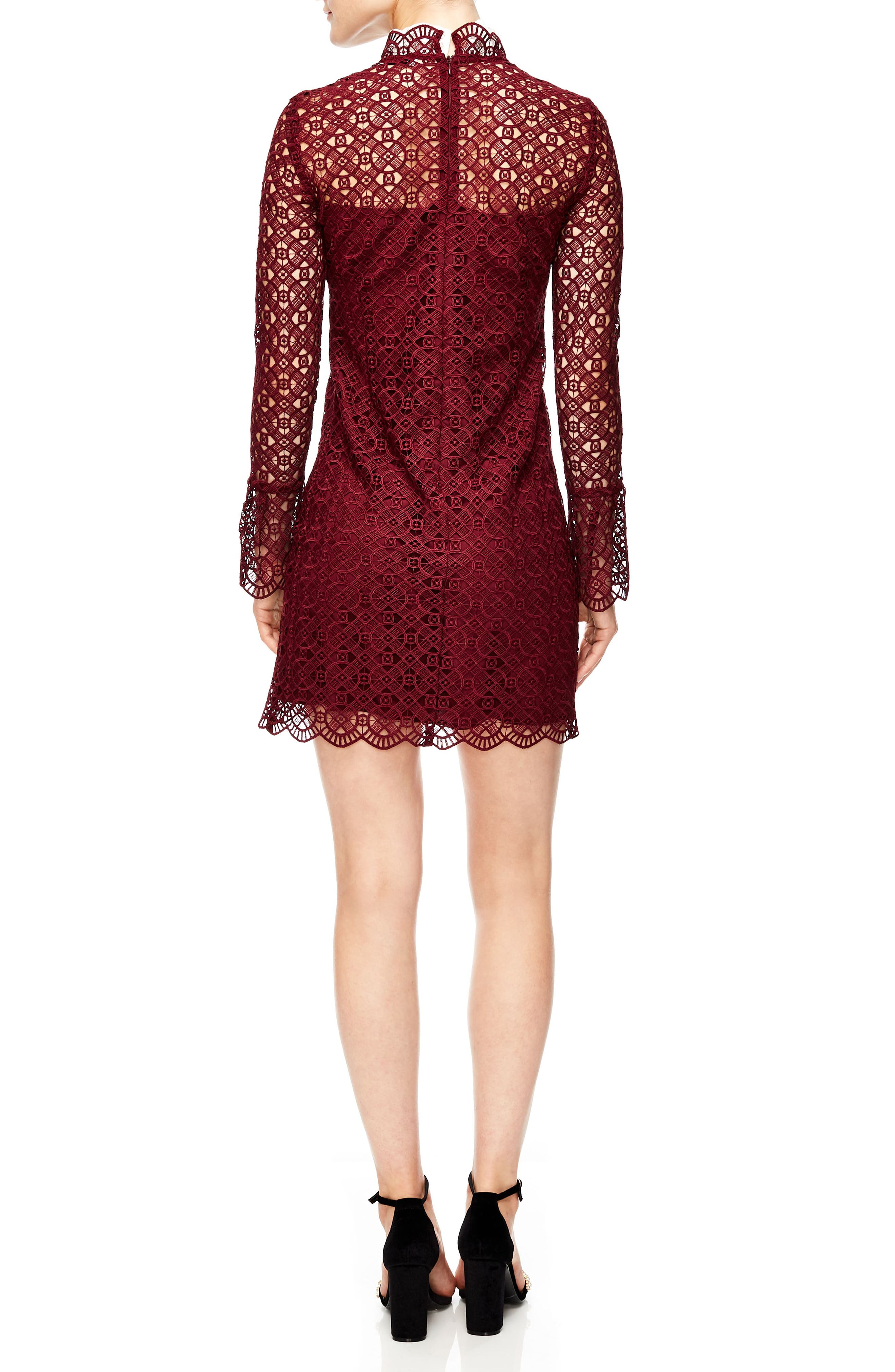 Lace Shift Dress,                             Alternate thumbnail 2, color,                             BURGUNDY