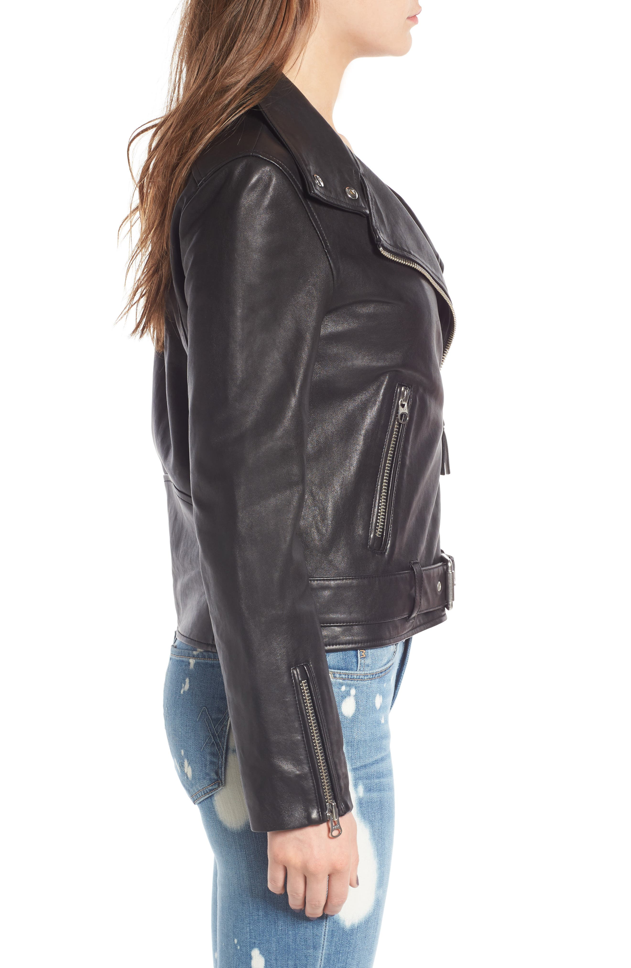 Miela-N Belted Leather Moto Jacket,                             Alternate thumbnail 3, color,                             001