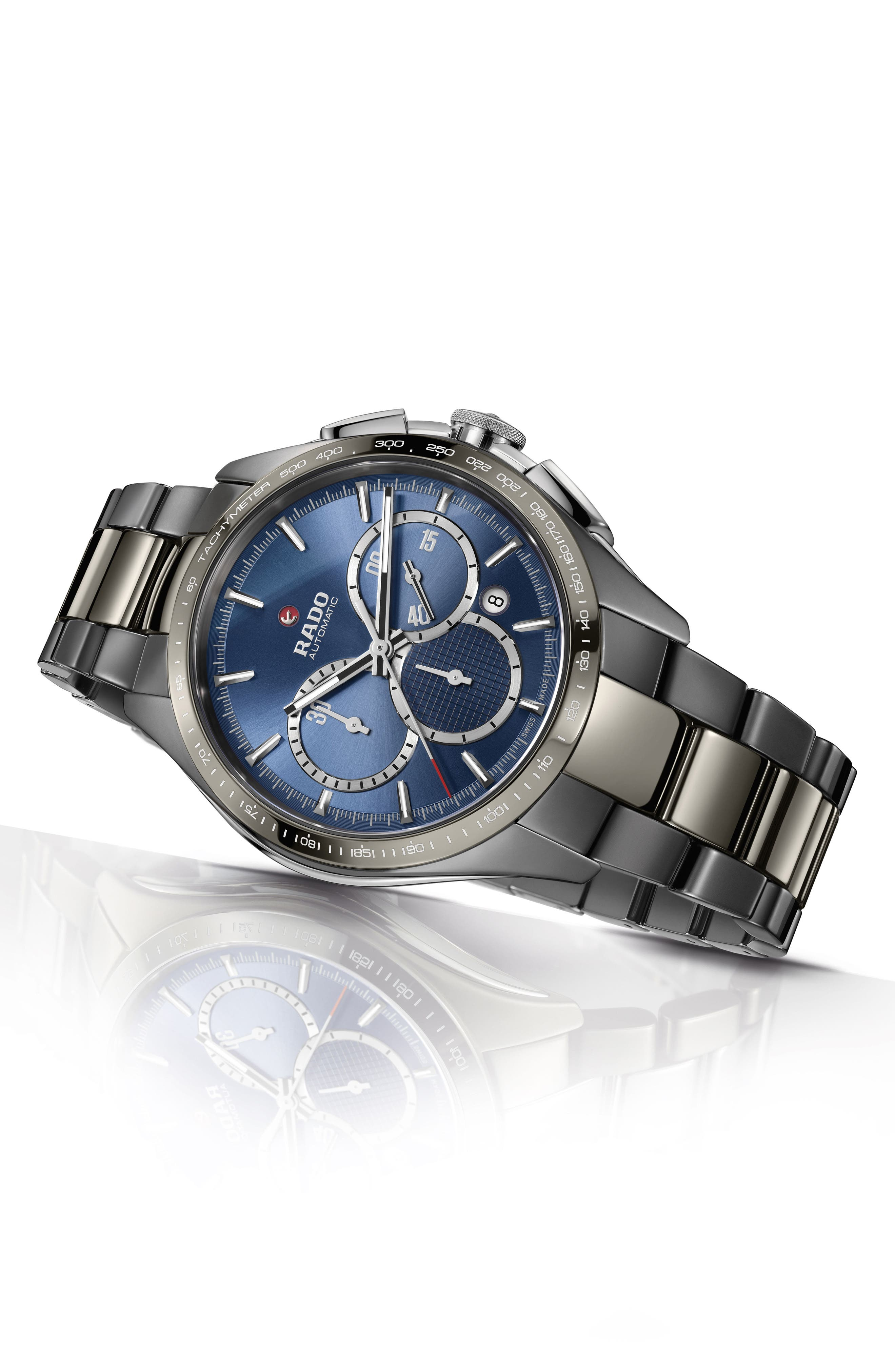 HyperChrome Match Point Automatic Chronograph Watch, 45mm,                             Alternate thumbnail 5, color,                             SILVER/ BLUE/ SILVER