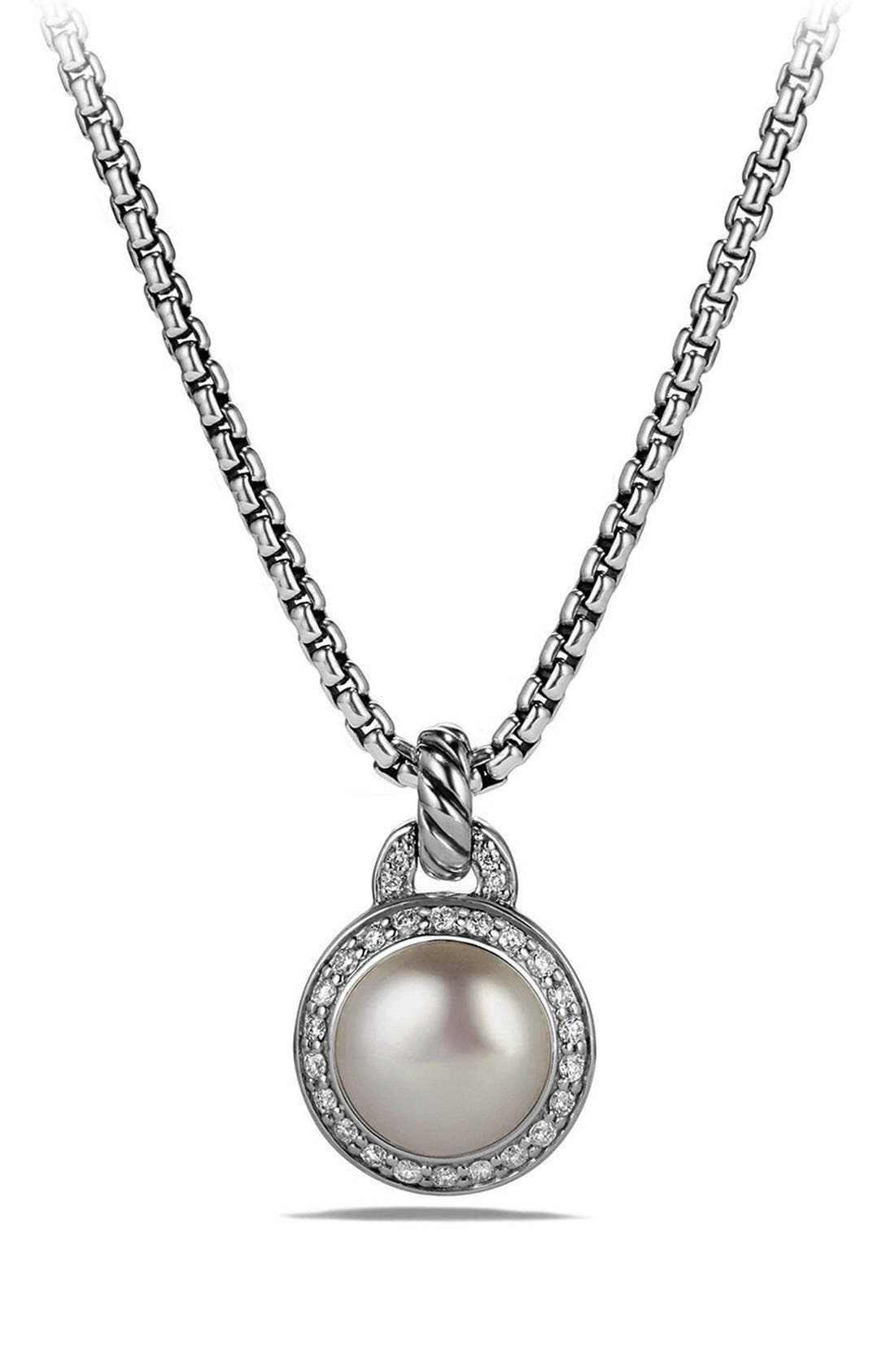 'Cerise' Petite Cerise Pendant Necklace with Pearl and Diamonds,                             Main thumbnail 1, color,                             SILVER/ PEARL
