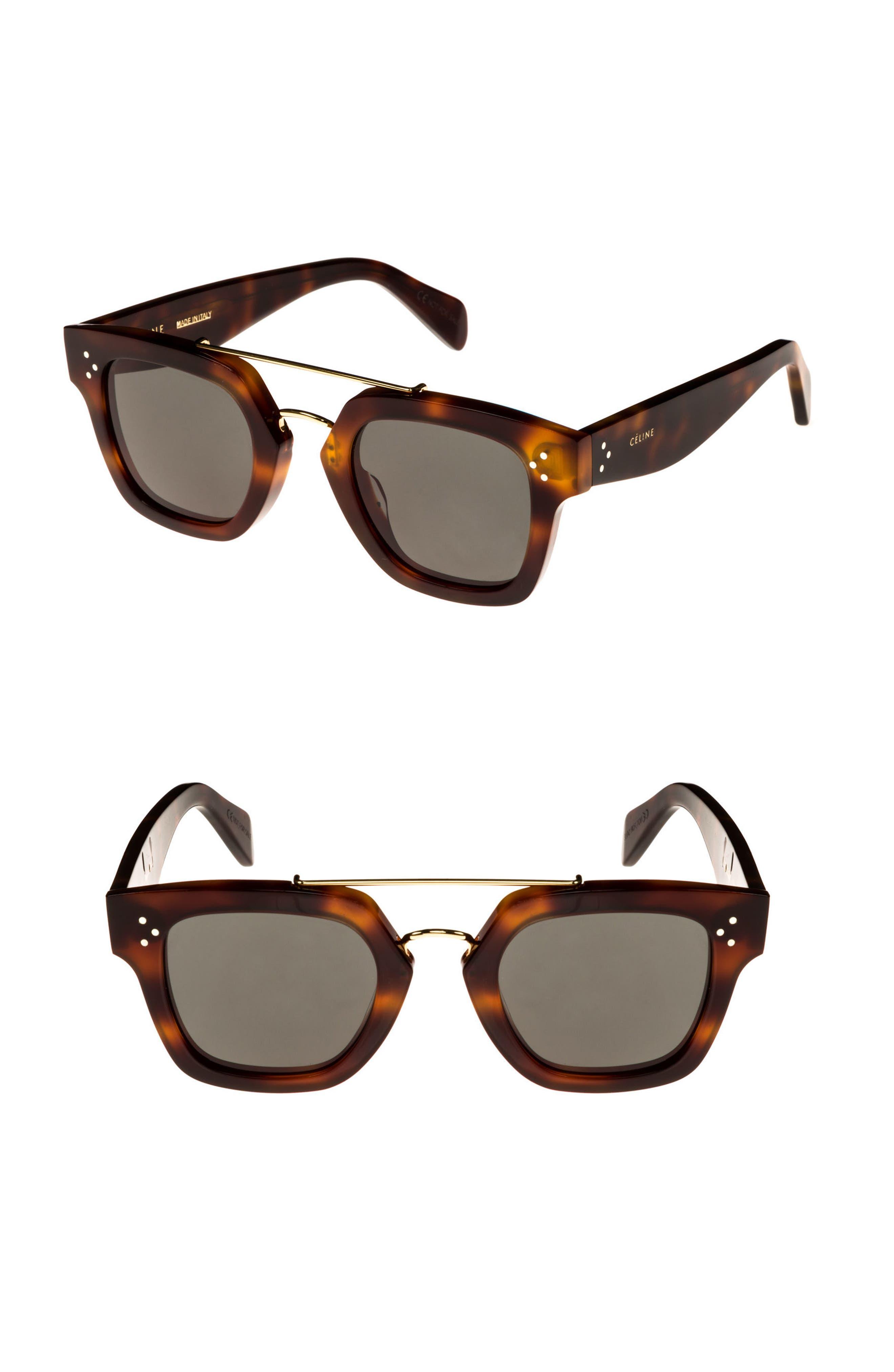 47mm Gradient Square Sunglasses,                             Main thumbnail 1, color,                             BLONDE HAVANA/ GREEN