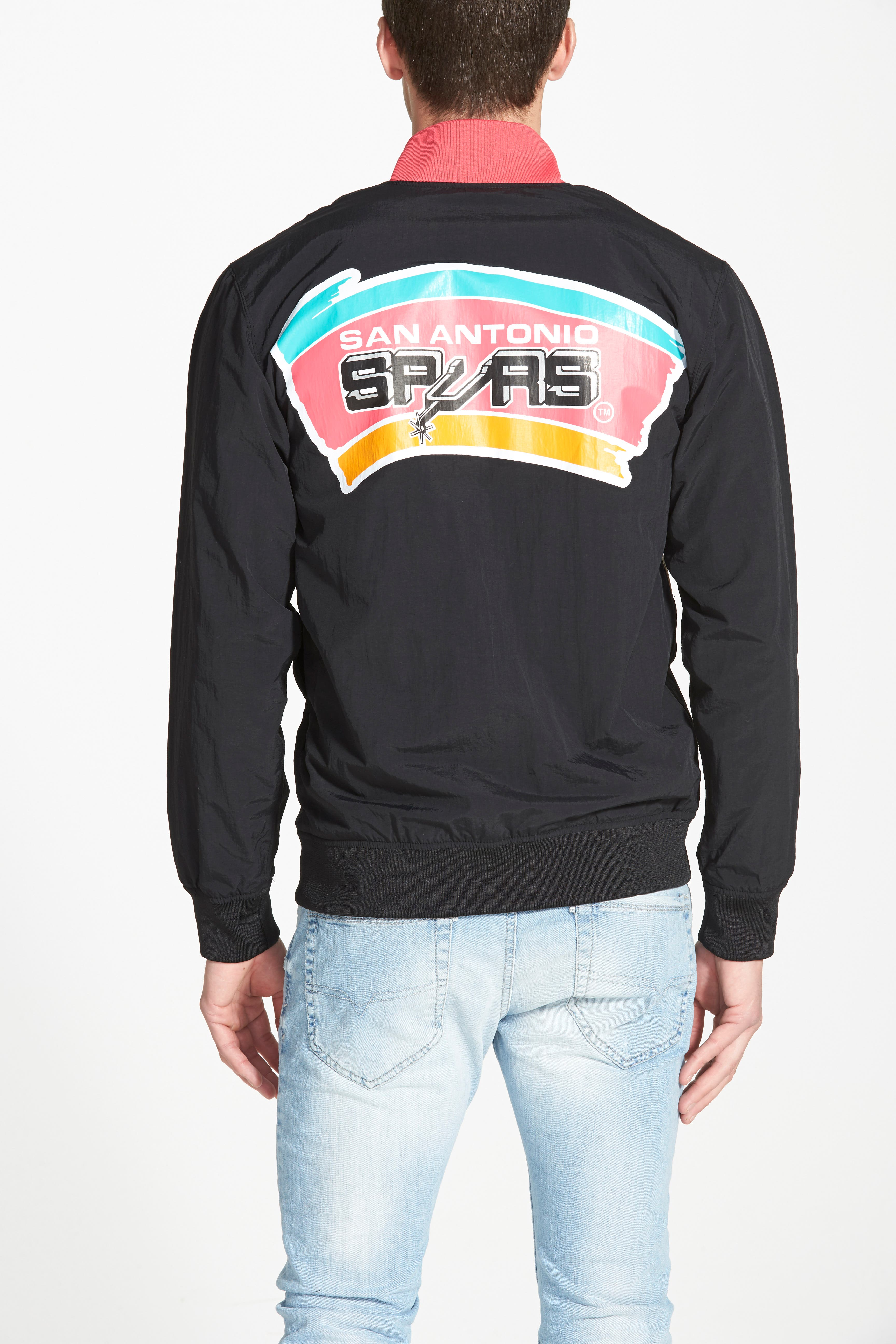 MITCHELL & NESS,                             'San Antonio Spurs' Warm-Up Jacket,                             Alternate thumbnail 3, color,                             001