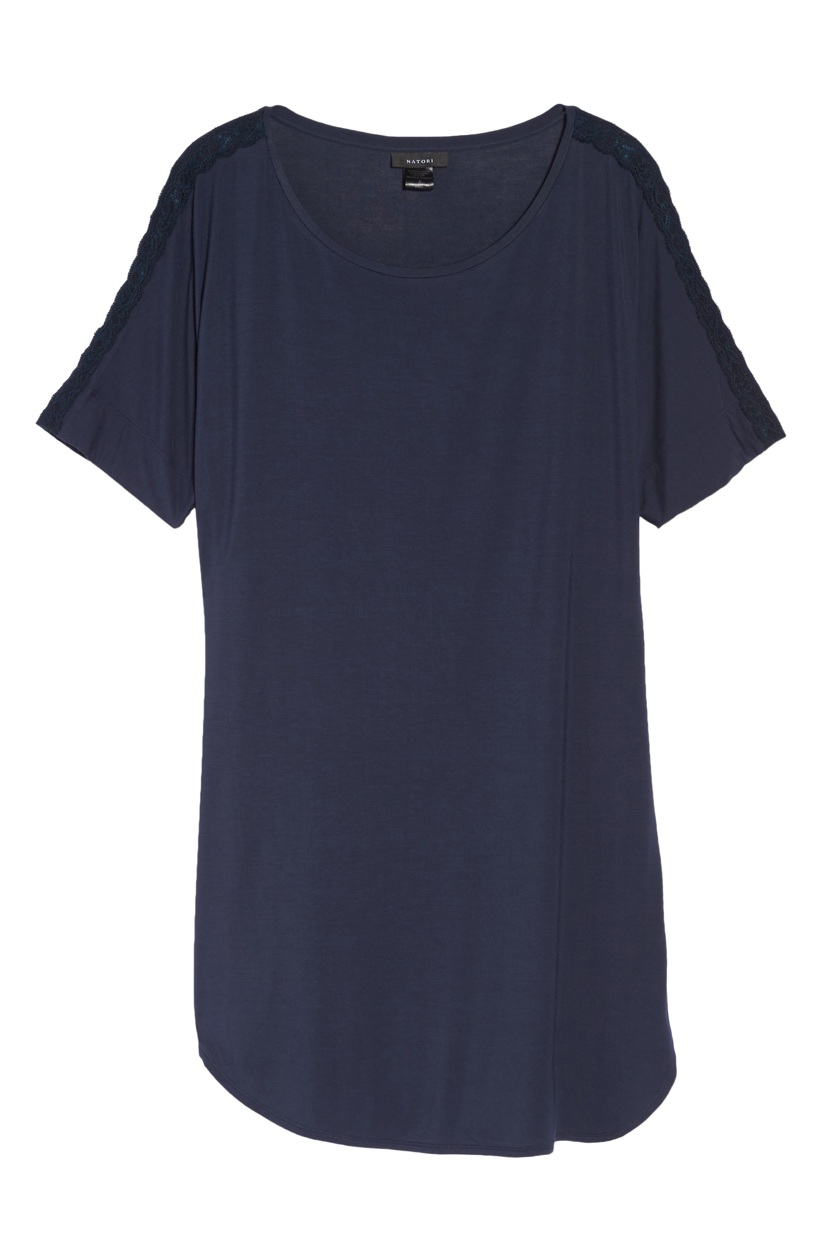 Feathers Essential Sleep Shirt,                             Alternate thumbnail 6, color,                             NIGHT BLUE