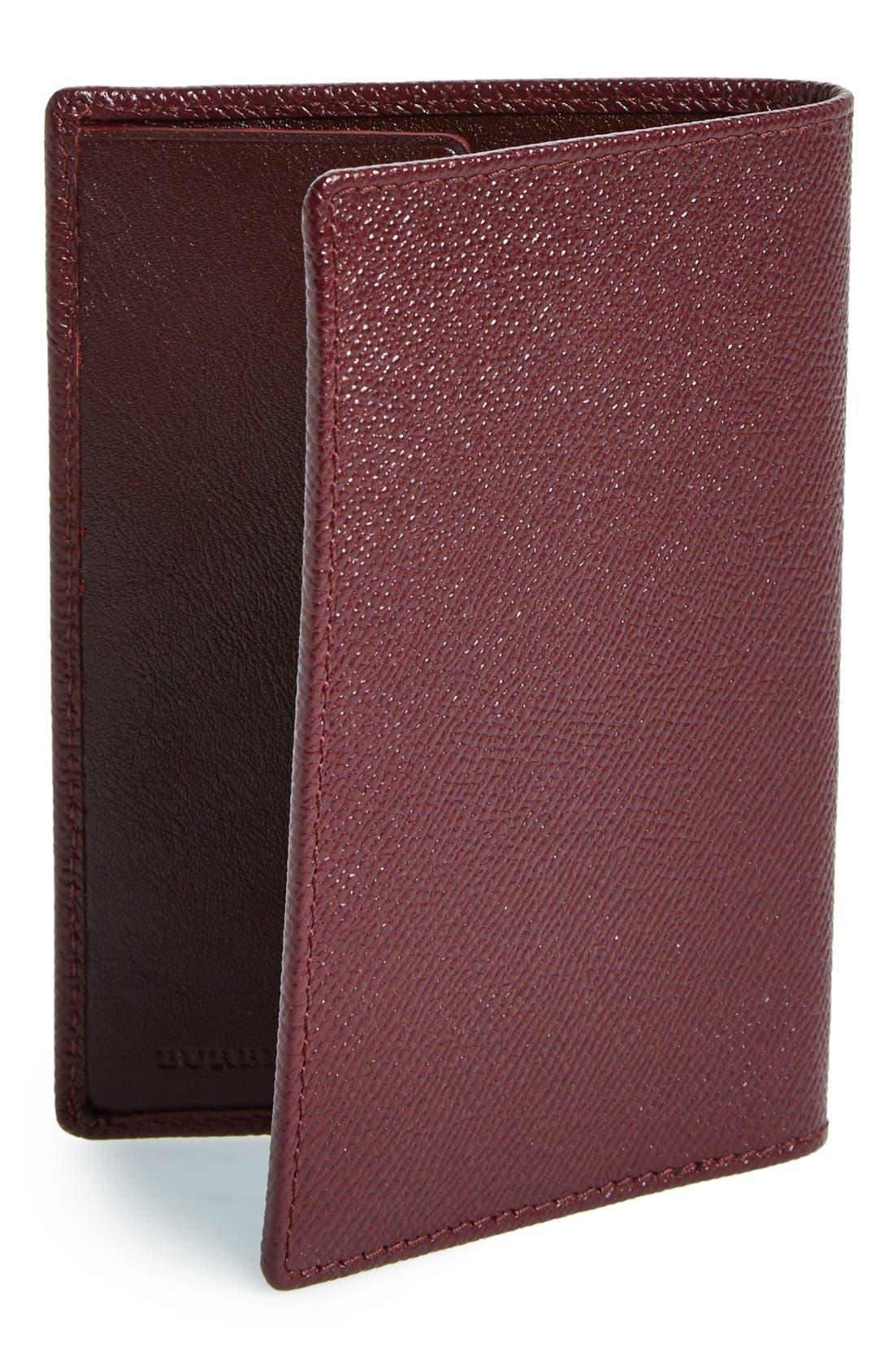 BURBERRY,                             Leather Passport Case,                             Alternate thumbnail 3, color,                             600