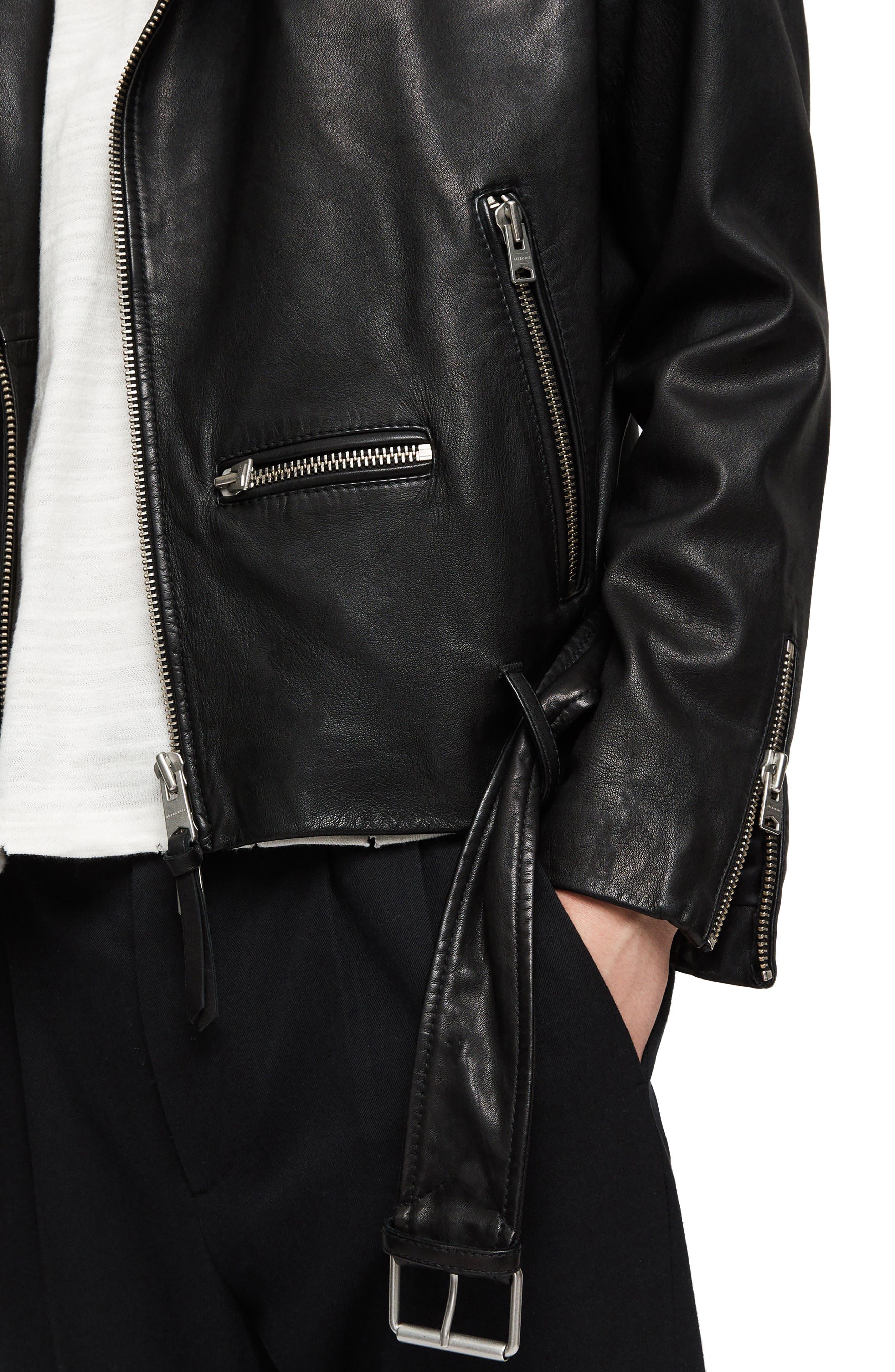 Wick Slim Fit Leather Biker Jacket,                             Alternate thumbnail 4, color,                             BLACK