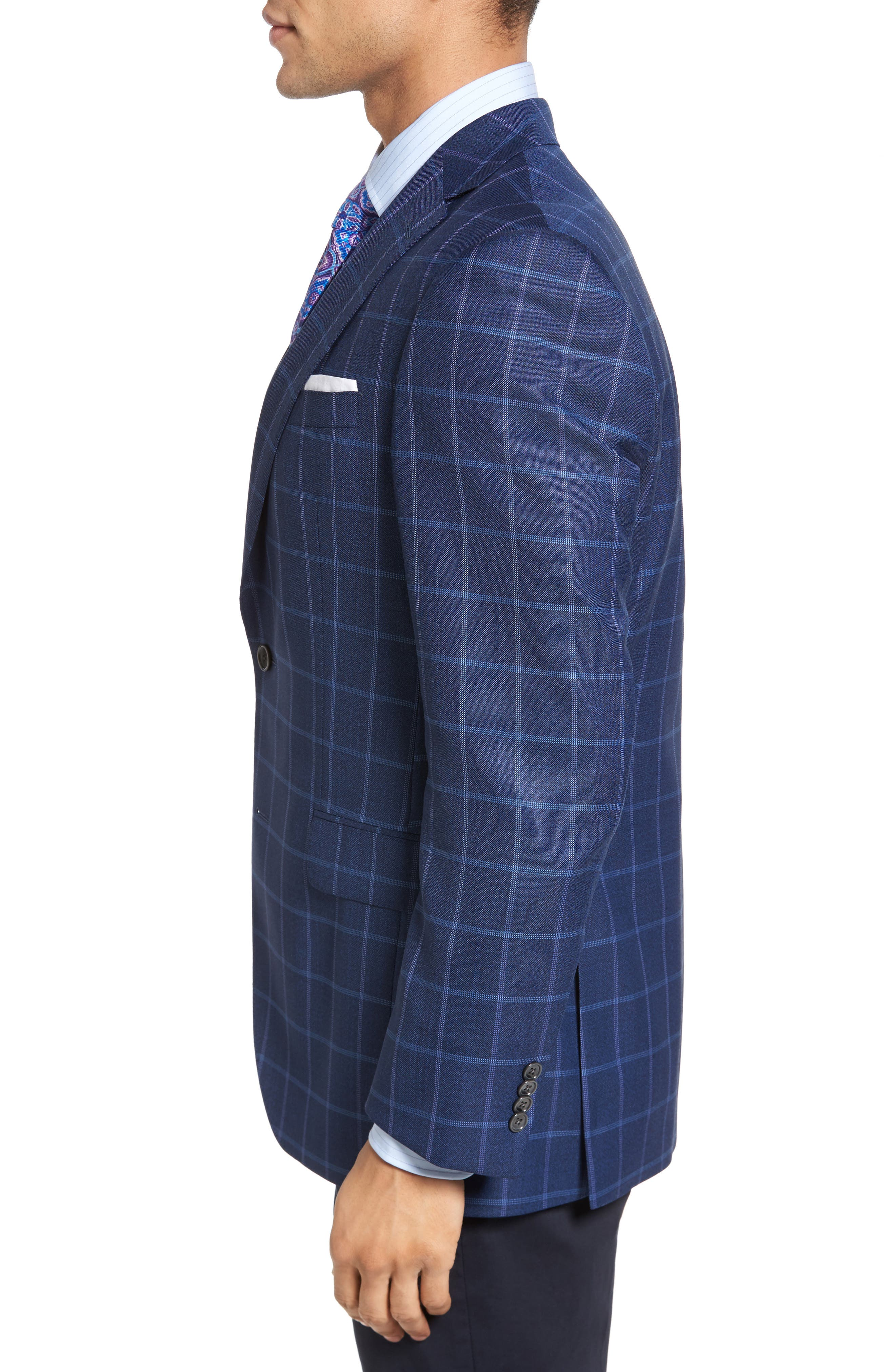 Connor Classic Fit Windowpane Wool Sport Coat,                             Alternate thumbnail 3, color,                             420