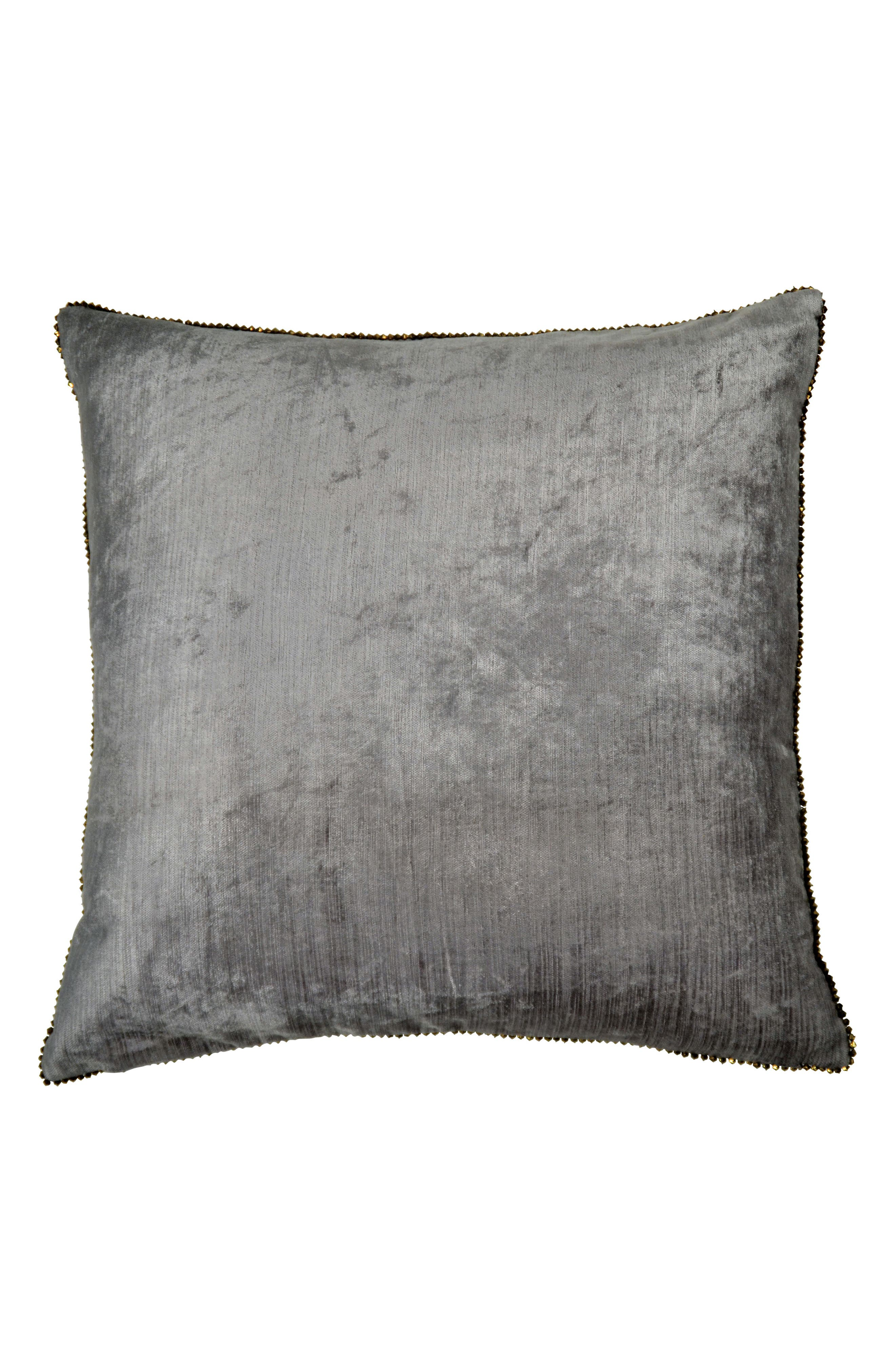 Velvet Accent Pillow,                             Main thumbnail 1, color,                             GREY