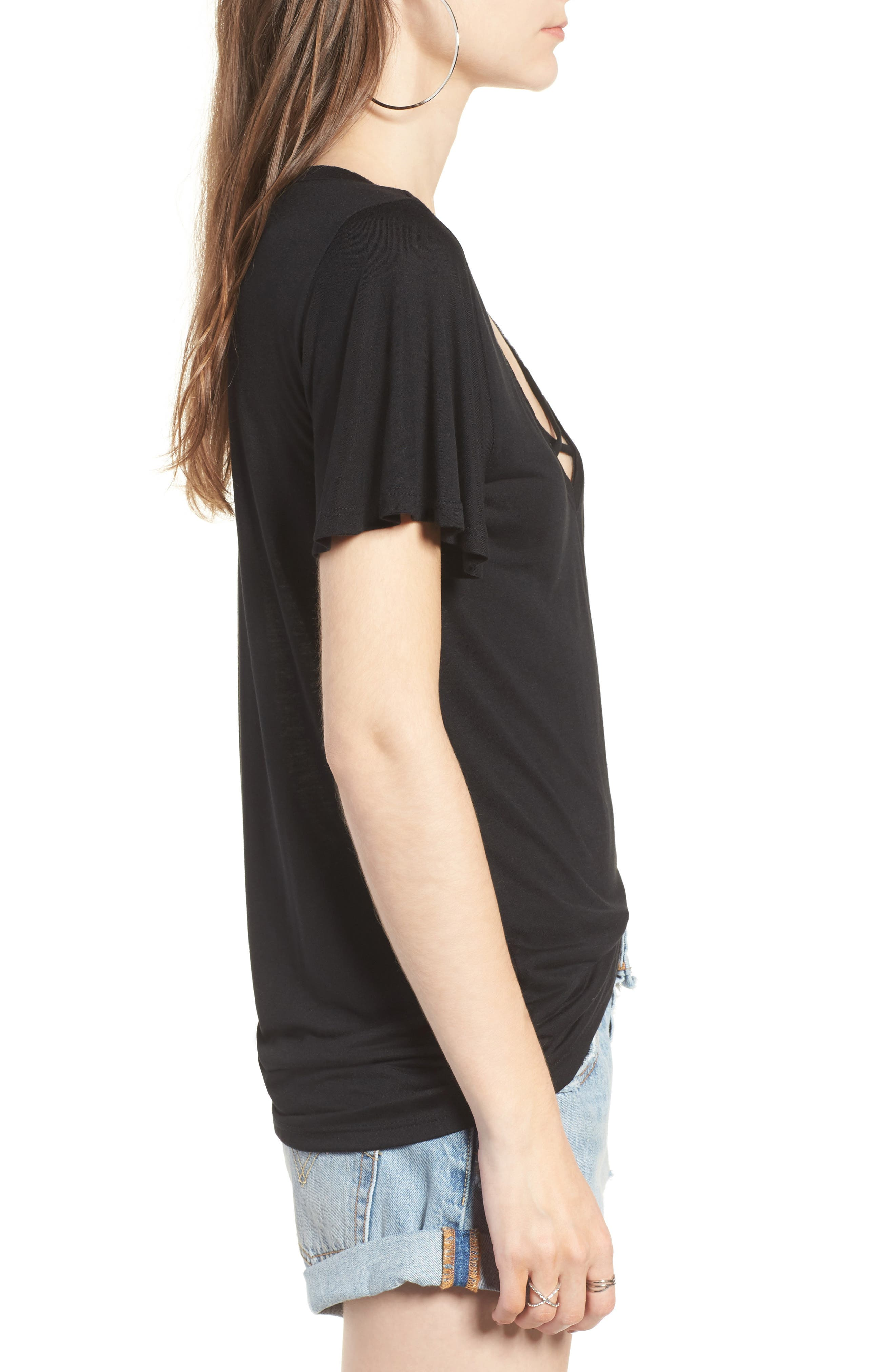 Cross Front Tee,                             Alternate thumbnail 3, color,                             001