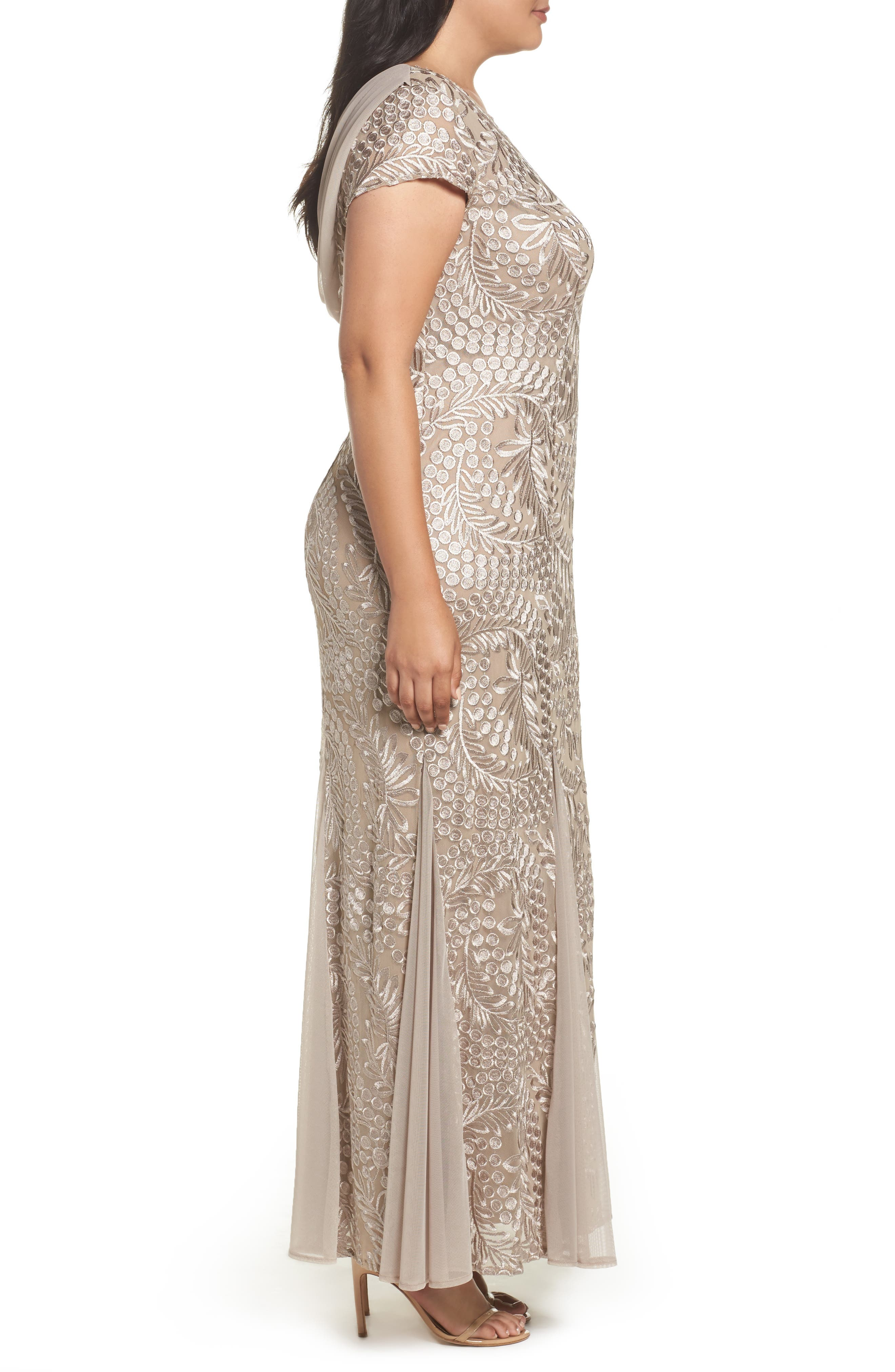 Cowl Back Embroidered Lace Gown,                             Alternate thumbnail 3, color,                             026