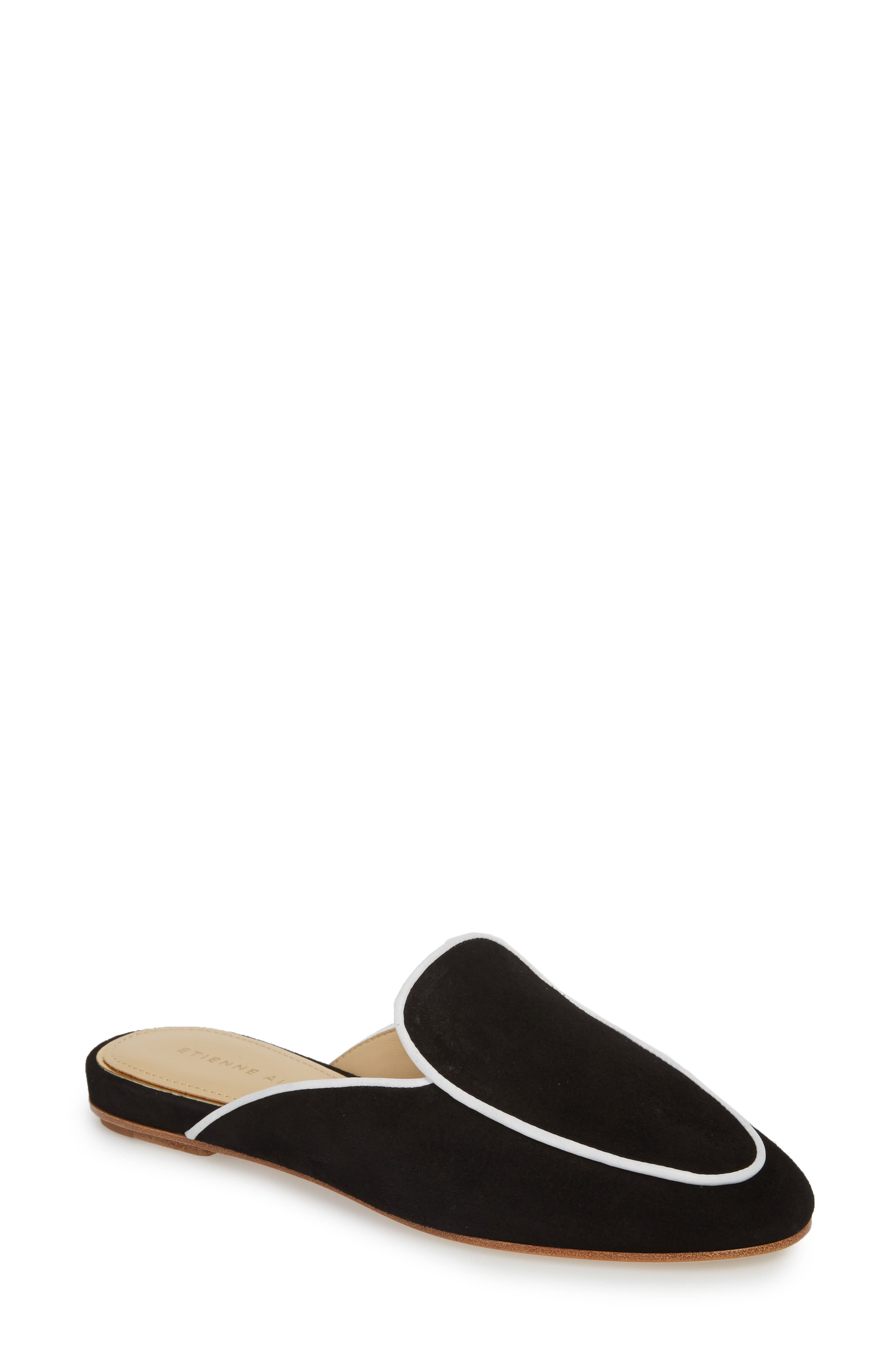 Capri Apron Toe Loafer Mule,                         Main,                         color, BLACK/ WHITE SUEDE