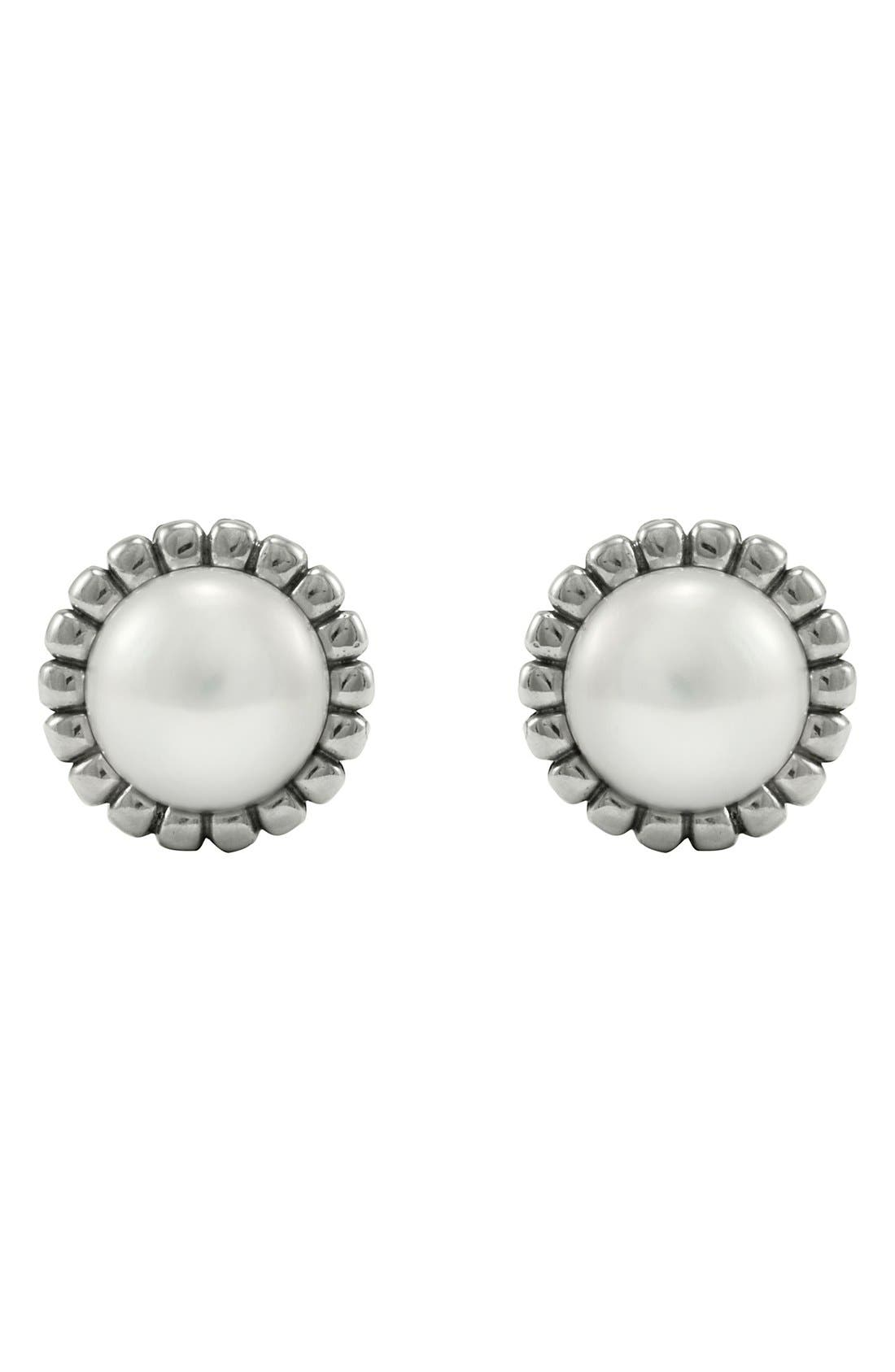 'Luna' Pearl Fluted Earrings,                             Alternate thumbnail 3, color,                             SILVER/ PEARL