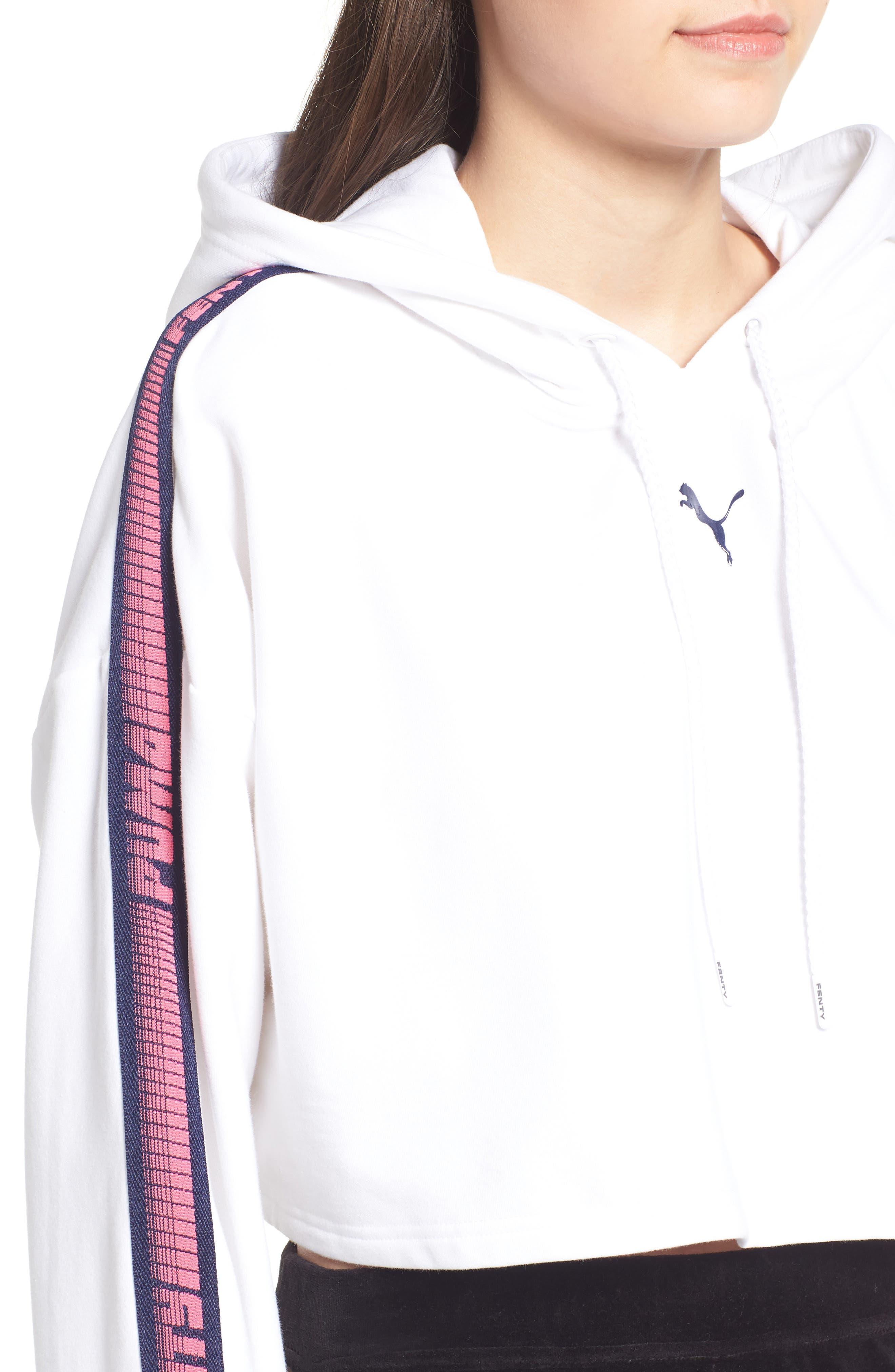 FENTY PUMA by Rihanna Hooded Crop Sweatshirt,                             Alternate thumbnail 4, color,