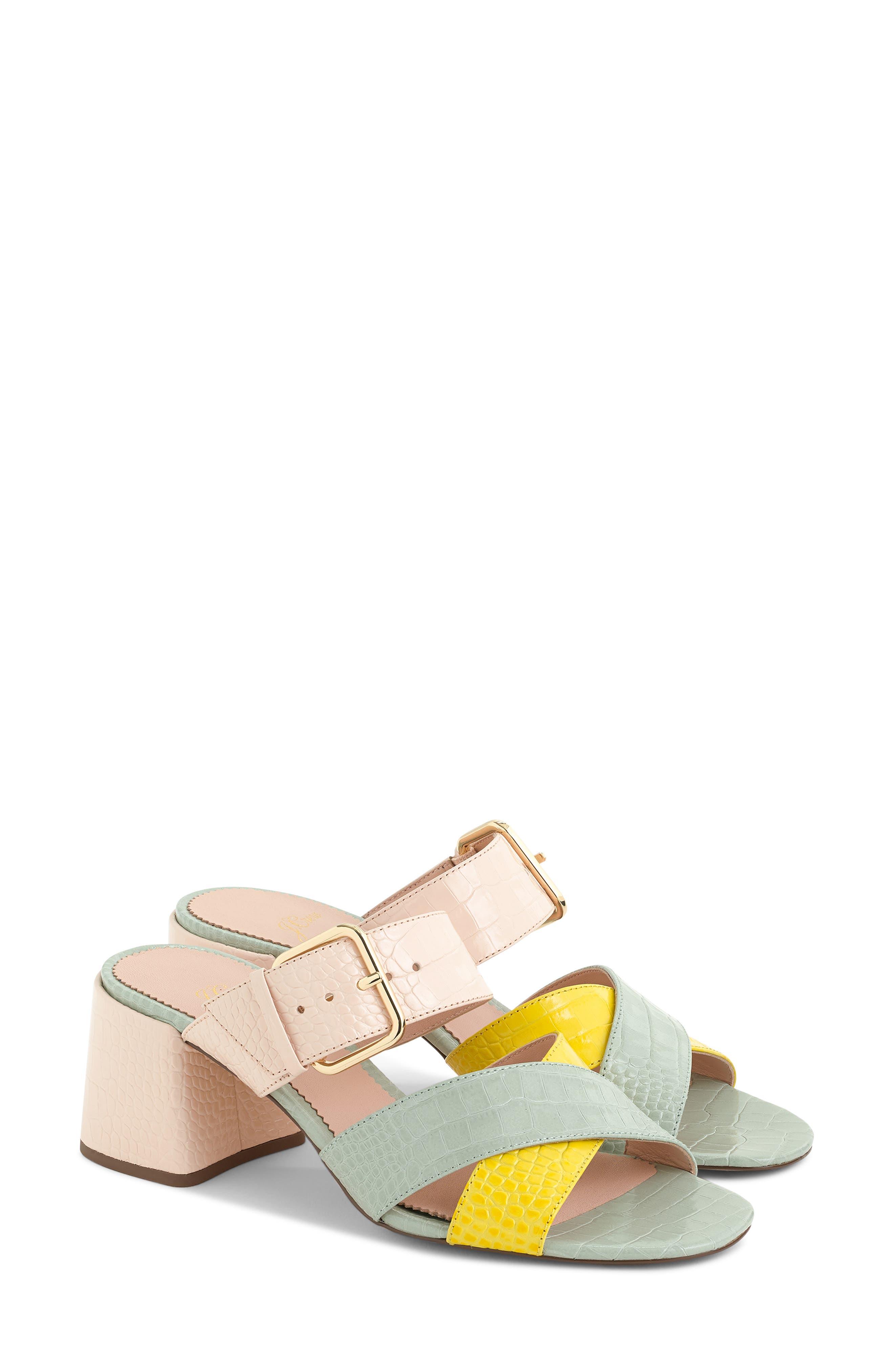 Penny Colorblock Faux Croc Slide Sandal,                             Main thumbnail 1, color,                             BRIGHT YOLK SUEDE