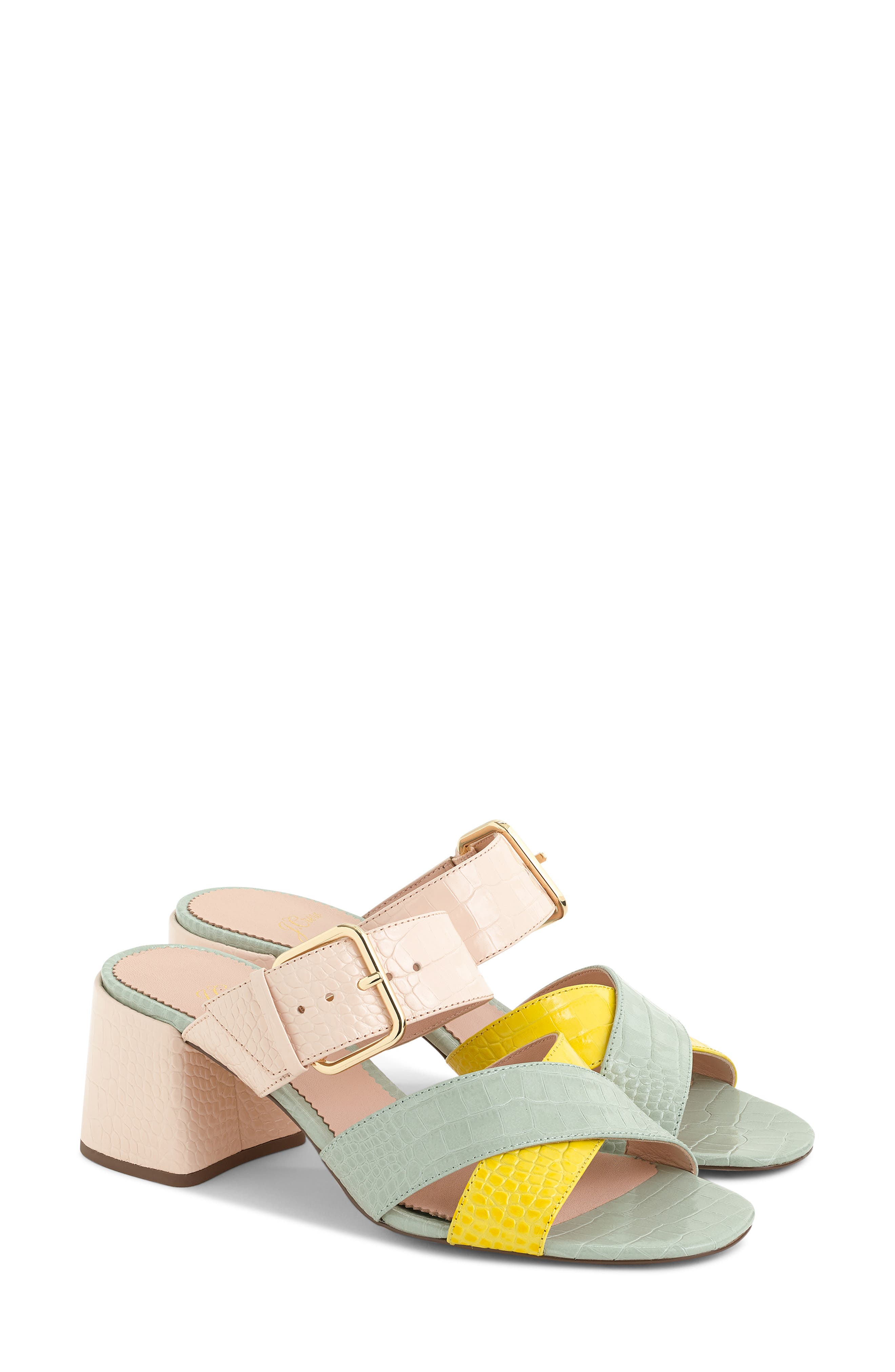 Penny Colorblock Faux Croc Slide Sandal, Main, color, BRIGHT YOLK SUEDE