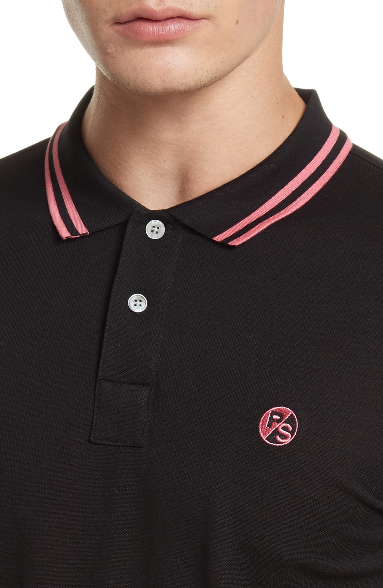 Tipped Logo Polo,                             Alternate thumbnail 4, color,                             001