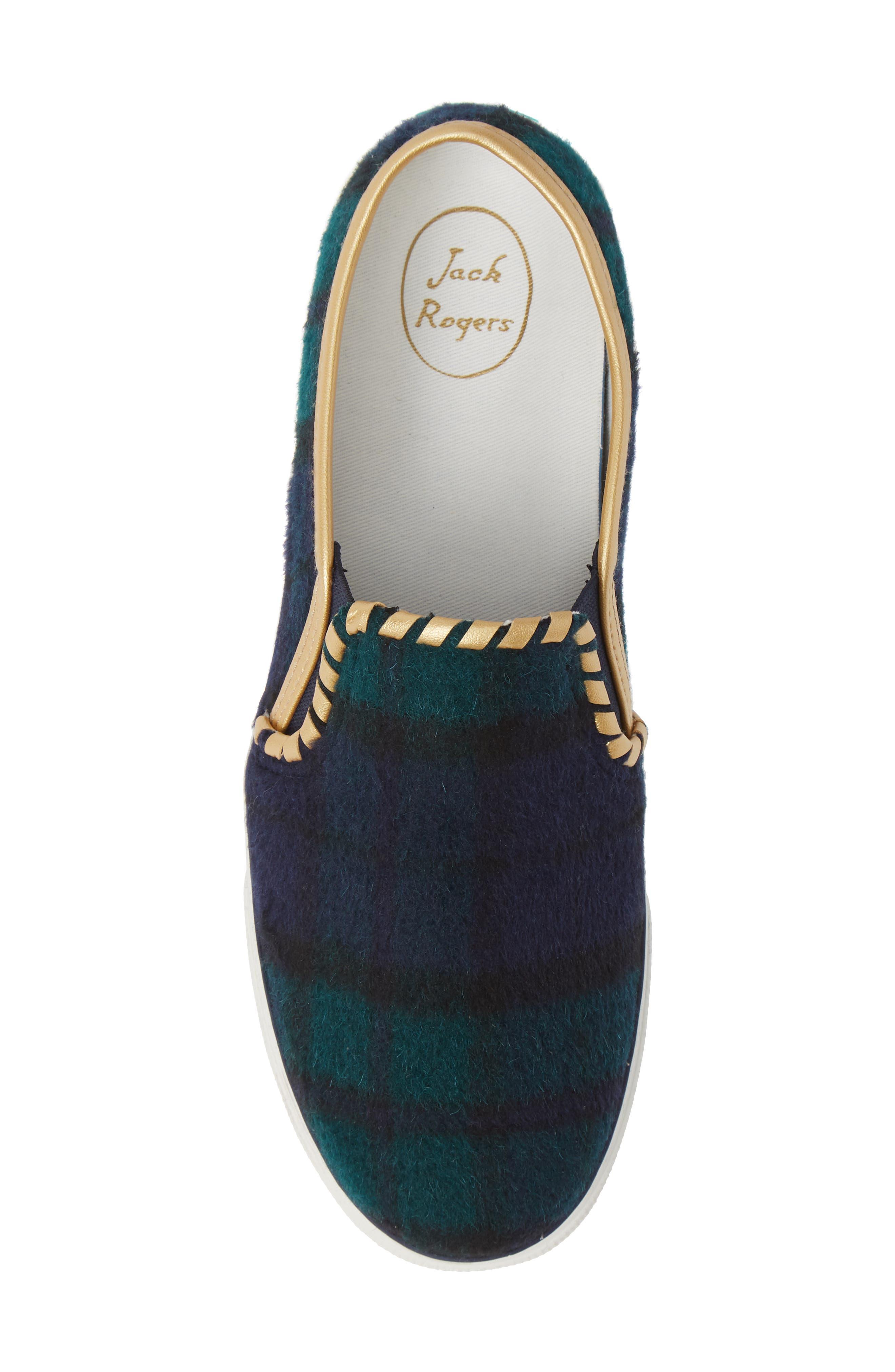 Brynne Slip-On Sneaker,                             Alternate thumbnail 5, color,                             MIDNIGHT/ GREEN FABRIC