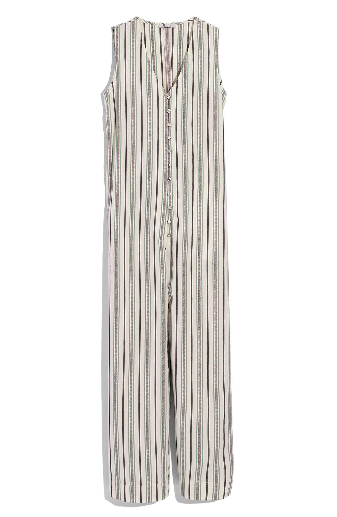 Stripe Button Down Jumpsuit,                             Alternate thumbnail 4, color,                             250