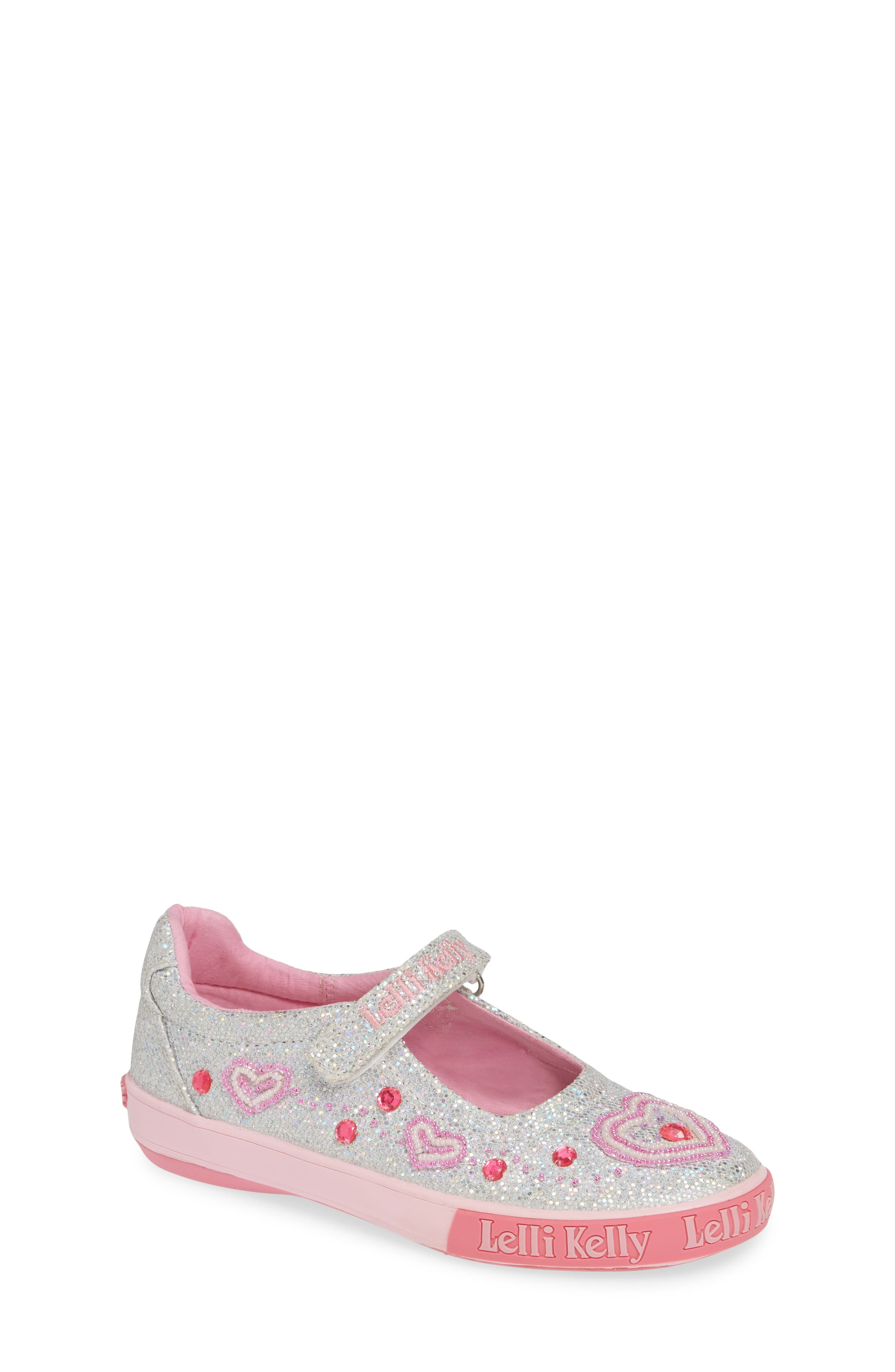 Beaded Heart Glitter Mary Jane Sneaker,                             Main thumbnail 1, color,                             SILVER