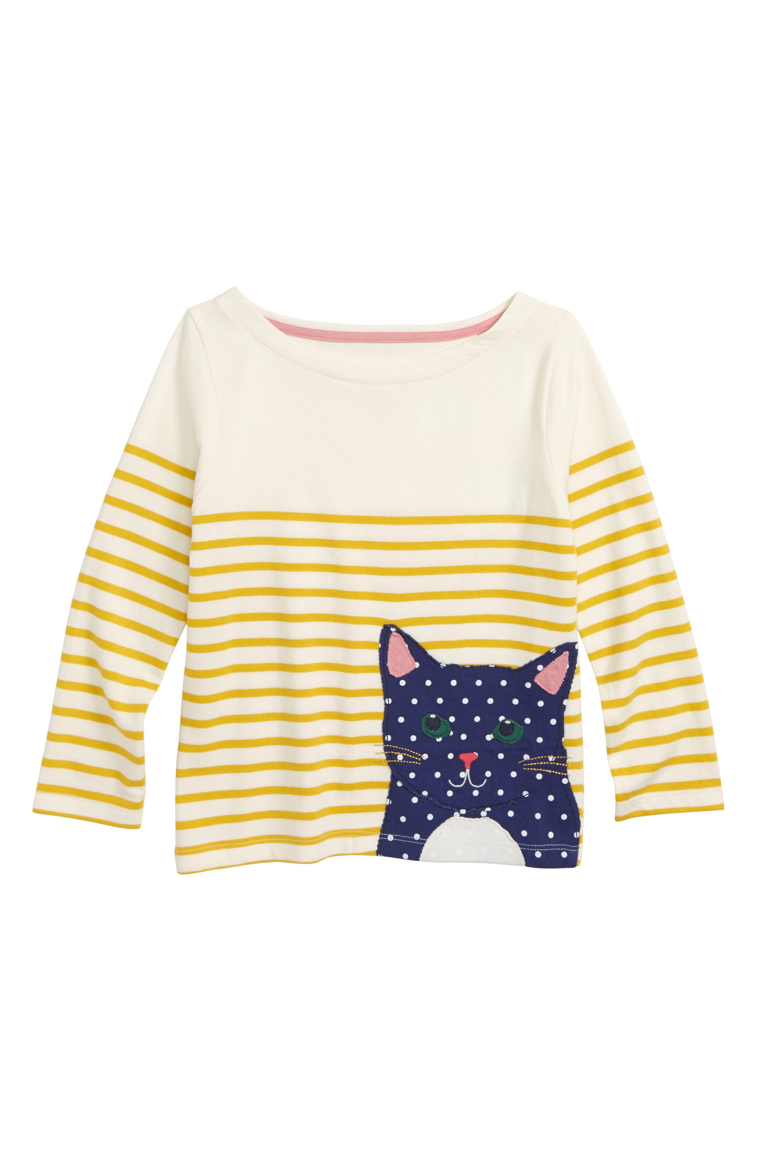 Appliqué Breton Shirt,                             Main thumbnail 1, color,                             HONEYCOMB/ ECRU CAT