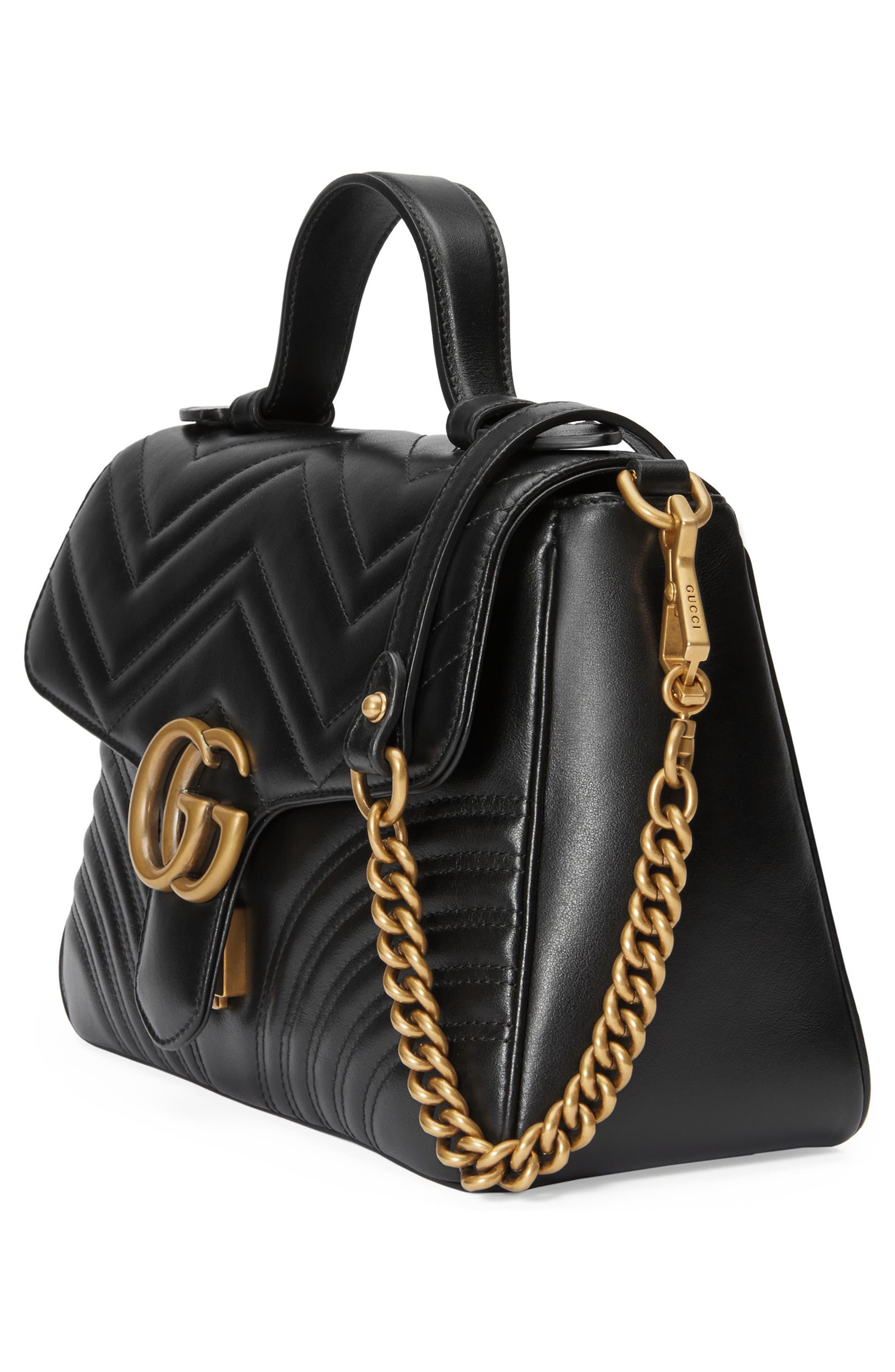 Small GG Marmont 2.0 Matelassé Leather Top Handle Bag,                             Alternate thumbnail 4, color,                             NERO