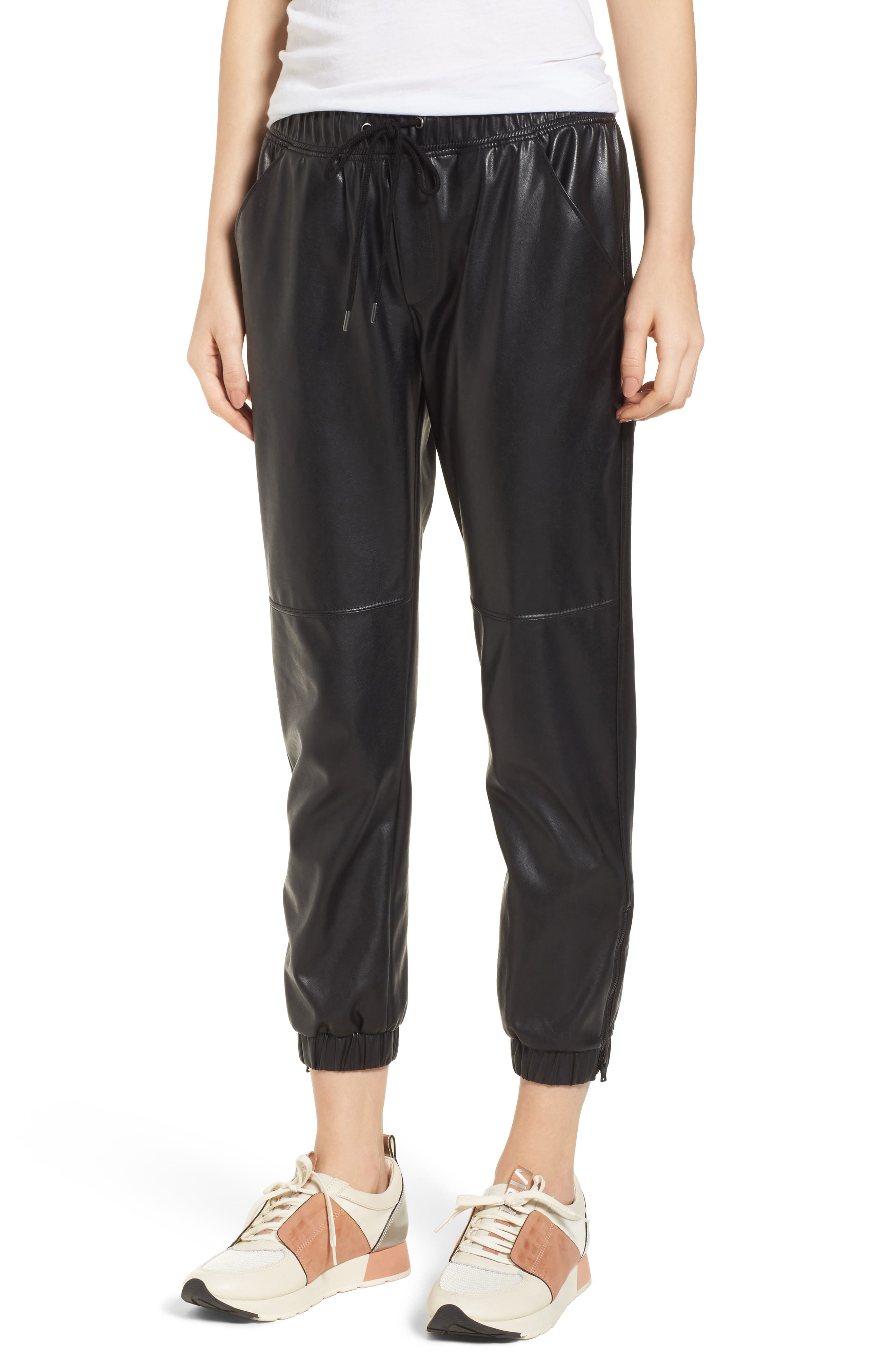 Ankle Zip Jogger Pants,                             Main thumbnail 1, color,                             BLACK