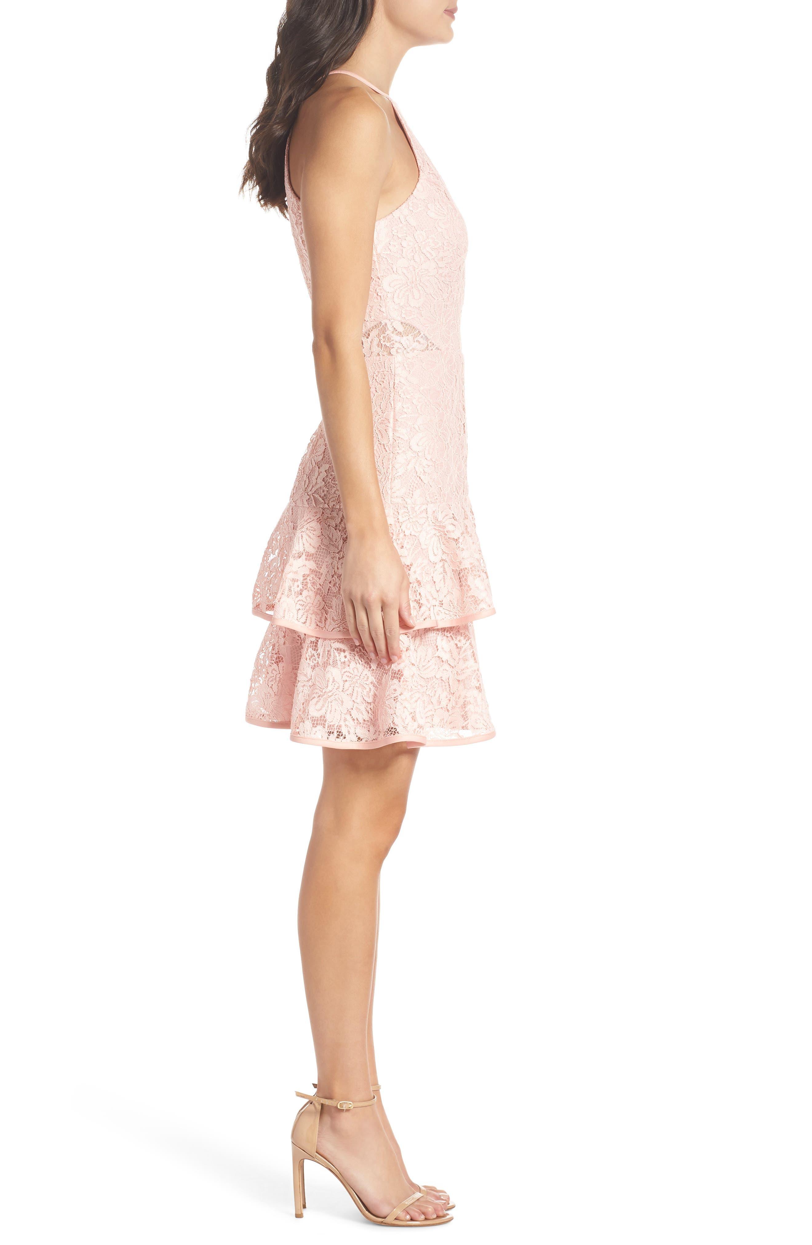 Ruffle Tier Lace Party Dress,                             Alternate thumbnail 3, color,                             680