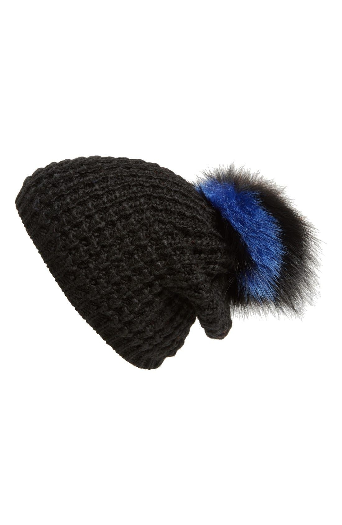 Genuine Fox Pompom Hat,                             Alternate thumbnail 41, color,