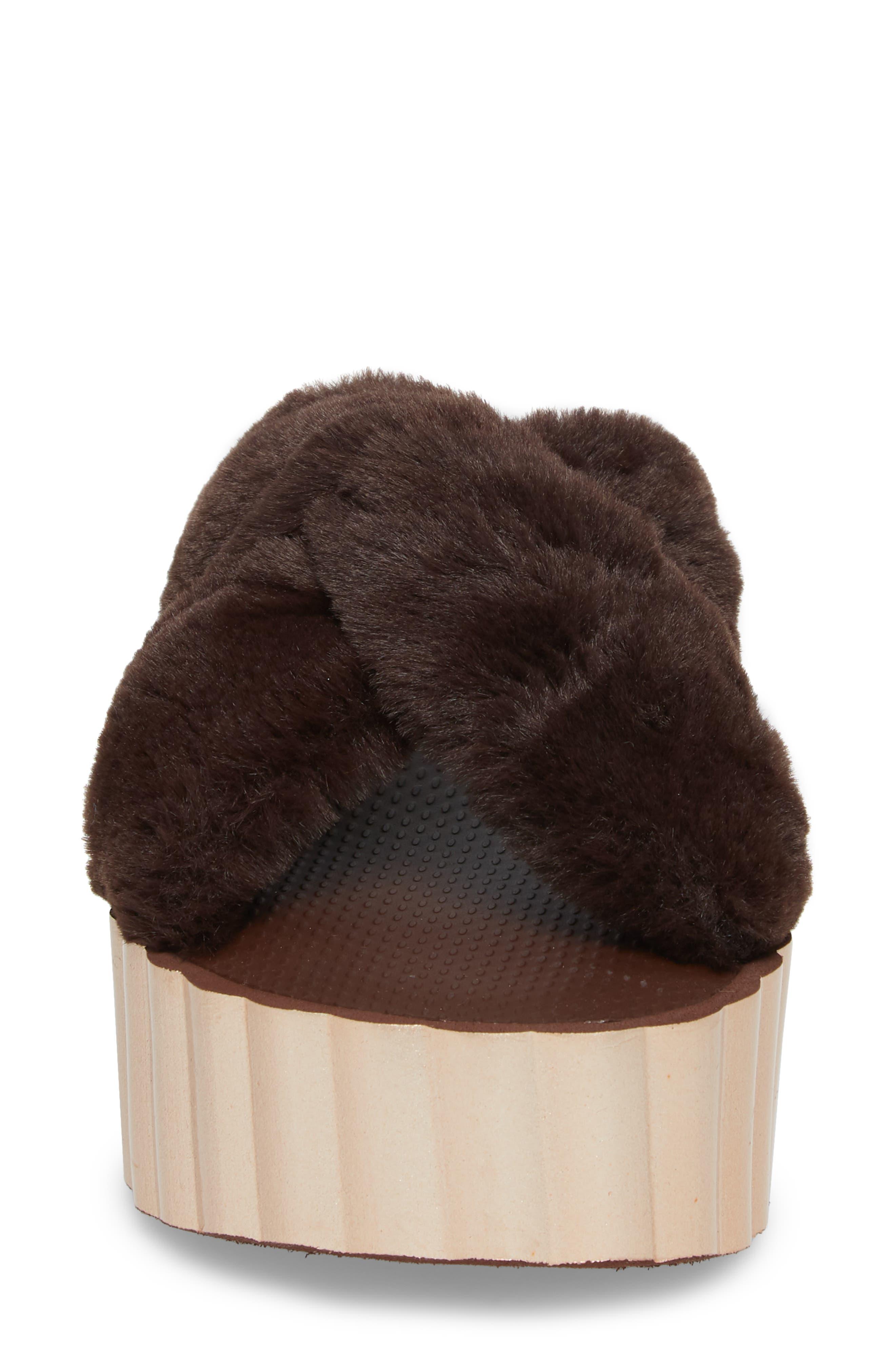 TORY BURCH,                             Faux Fur Scallop Platform Slide Sandal,                             Alternate thumbnail 4, color,                             207