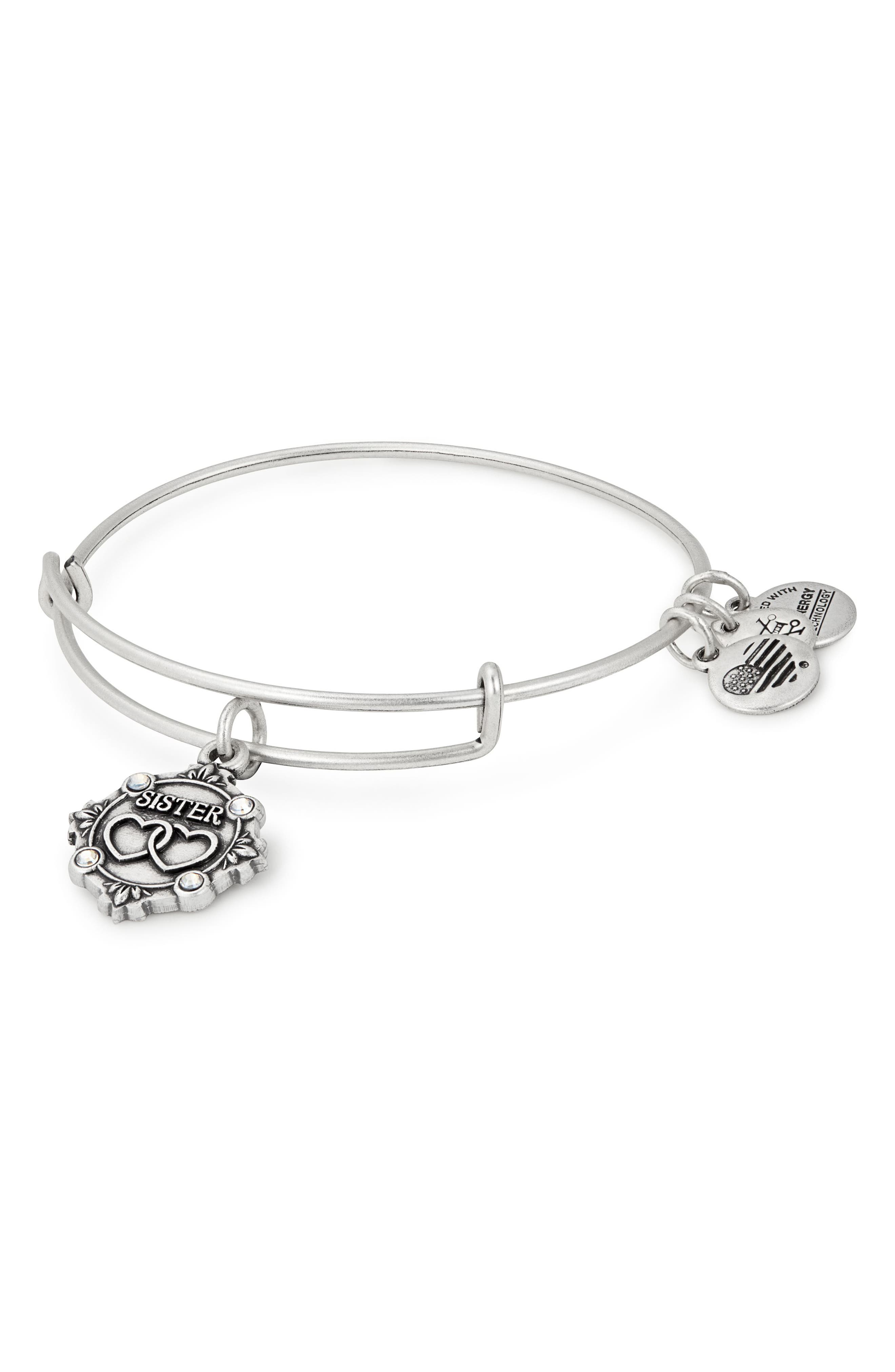 Because I Love You Sister Charm Bangle,                             Main thumbnail 1, color,                             SILVER