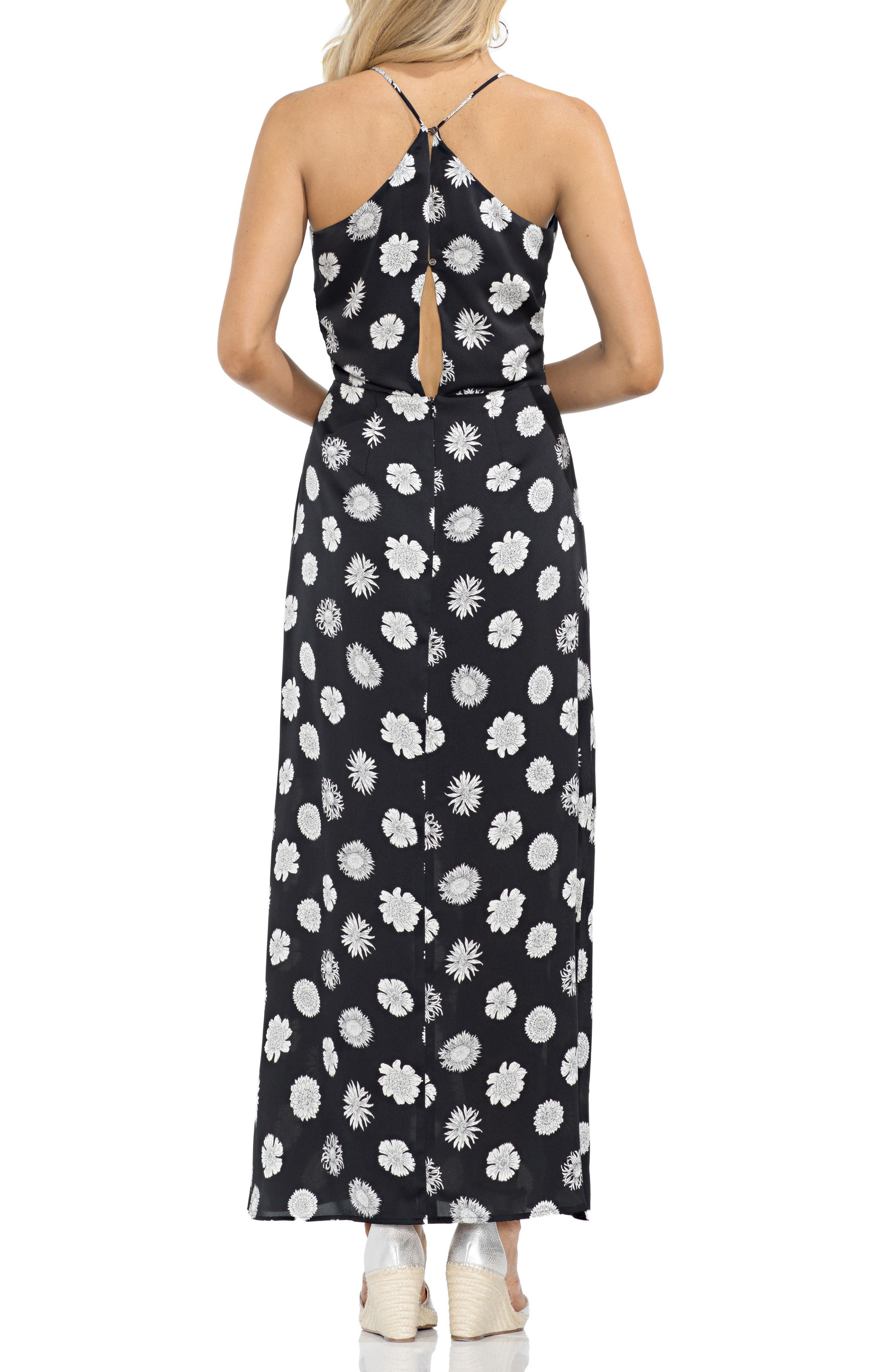 VINCE CAMUTO,                             Botanical Tropic A-Line Maxi Dress,                             Alternate thumbnail 2, color,                             001