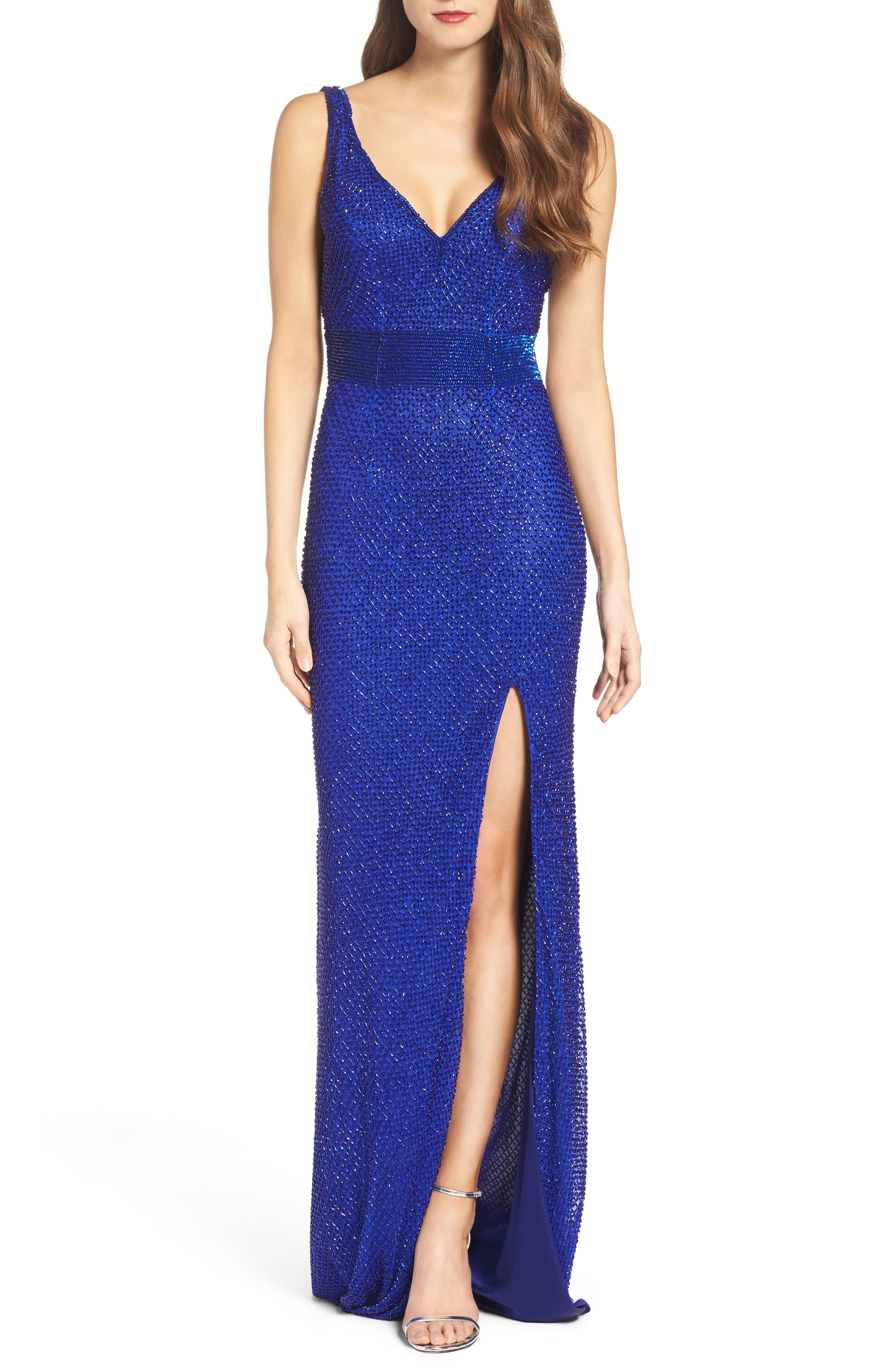 Beaded Mesh Gown,                         Main,                         color, ROYAL